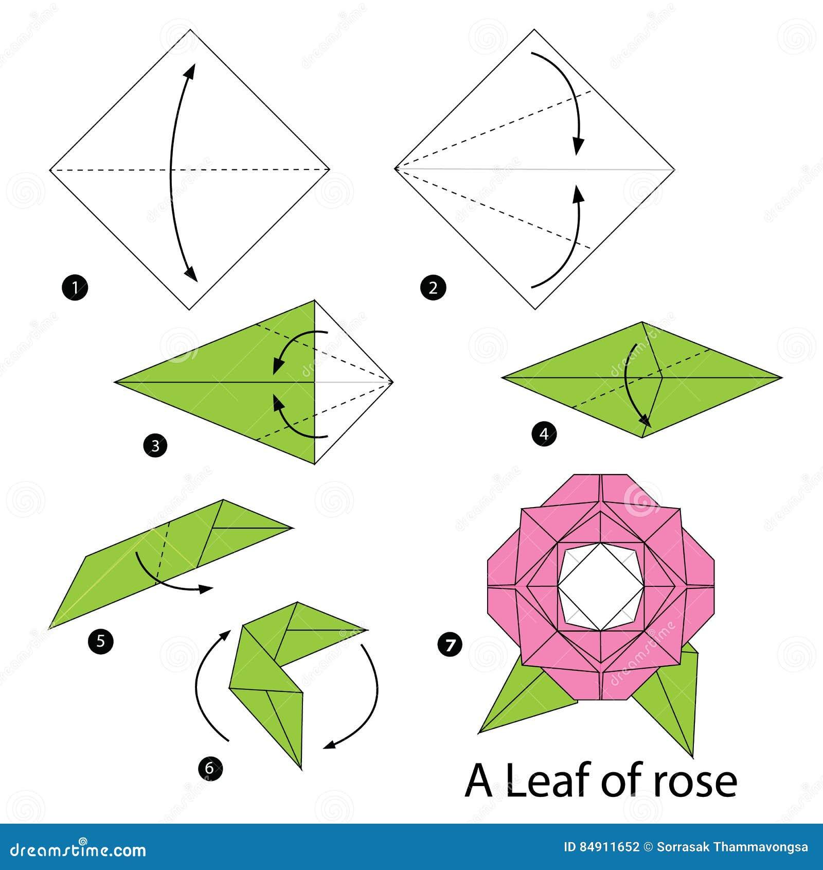 instructions tape par tape comment faire origami une feuille de rose illustration de vecteur. Black Bedroom Furniture Sets. Home Design Ideas