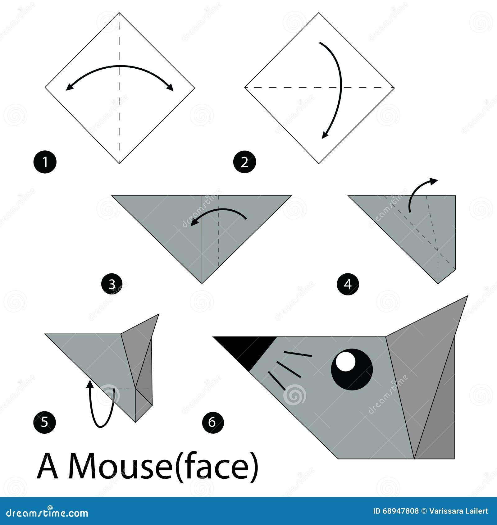 instructions tape par tape comment faire origami une souris illustration stock image 68947808. Black Bedroom Furniture Sets. Home Design Ideas