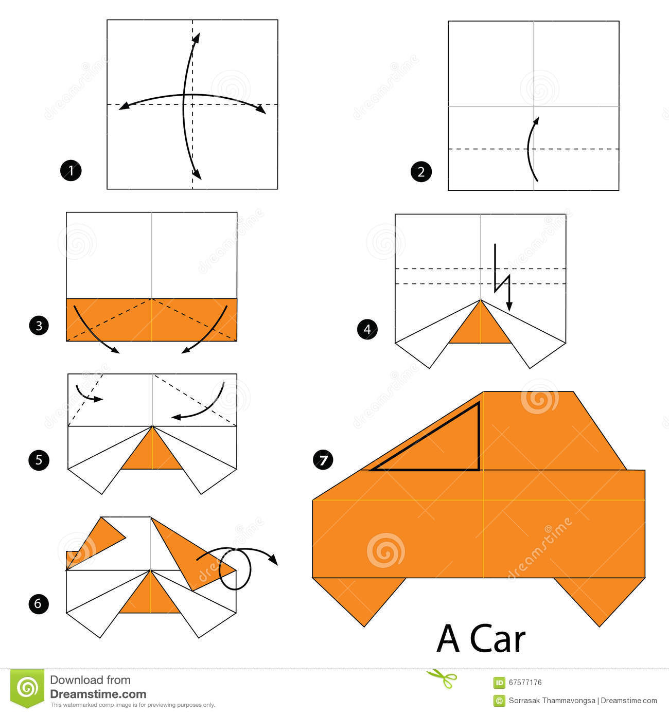 instructions tape par tape comment faire origami une voiture illustration de vecteur image. Black Bedroom Furniture Sets. Home Design Ideas