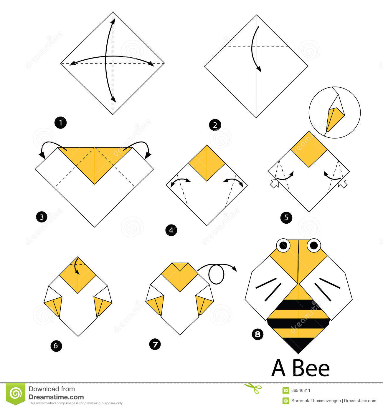 Instructions tape par tape comment faire l 39 abeille d 39 origami illust - Comment faire origami ...
