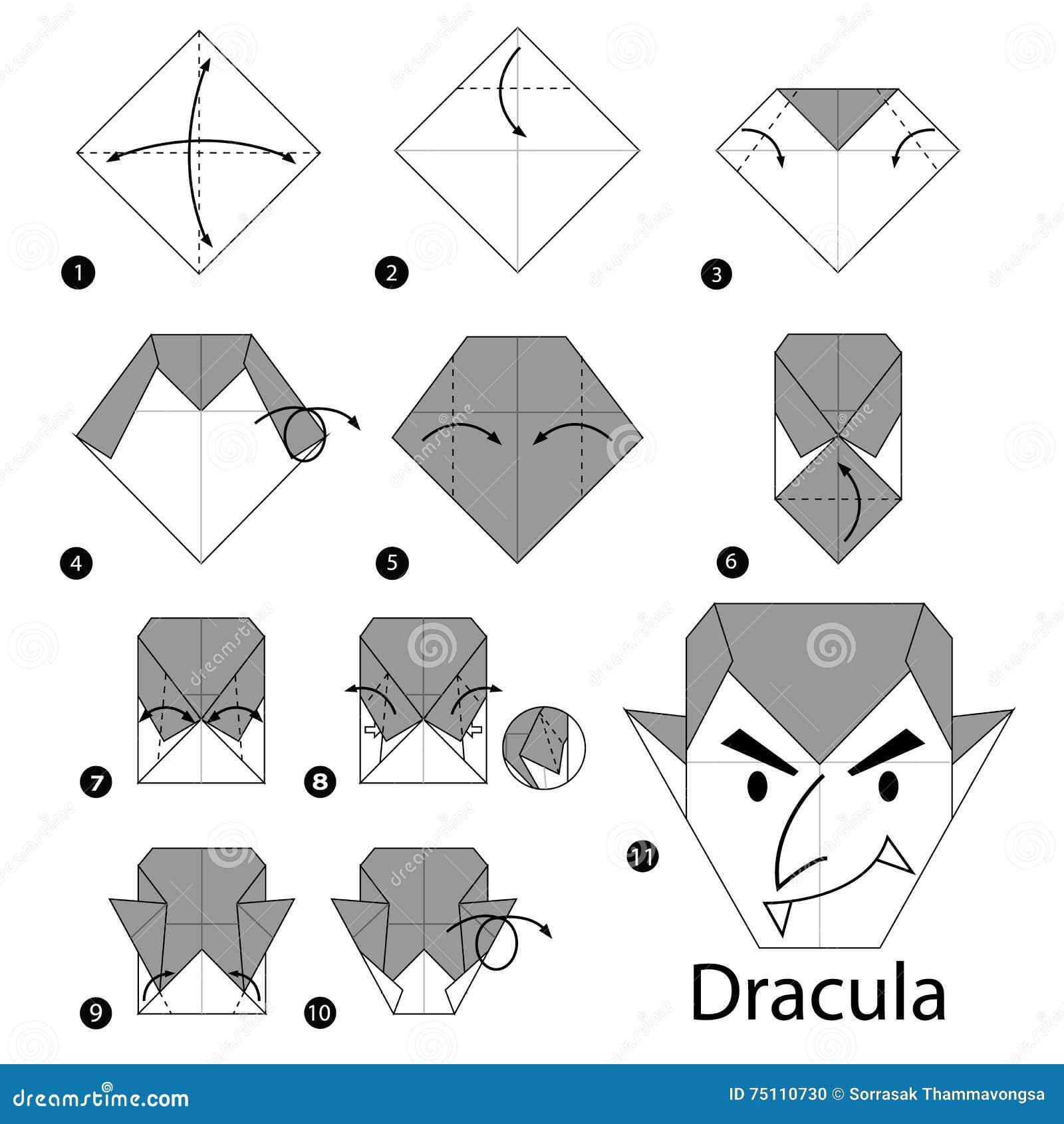 Instructions tape par tape comment faire l 39 origami dracula illustration - Comment faire l origami ...