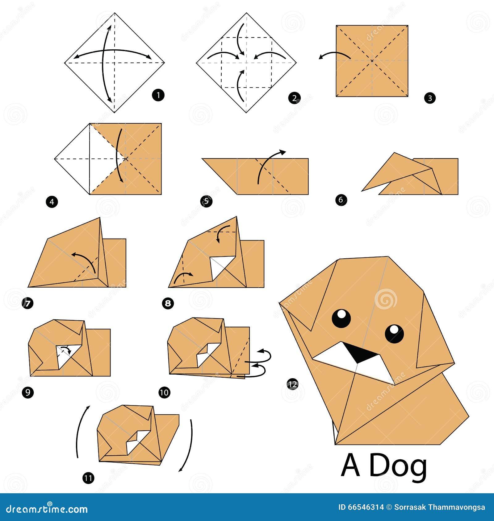 Instructions tape par tape comment faire le chien d 39 origami illustration de vecteur image - Animaux origami 3d ...