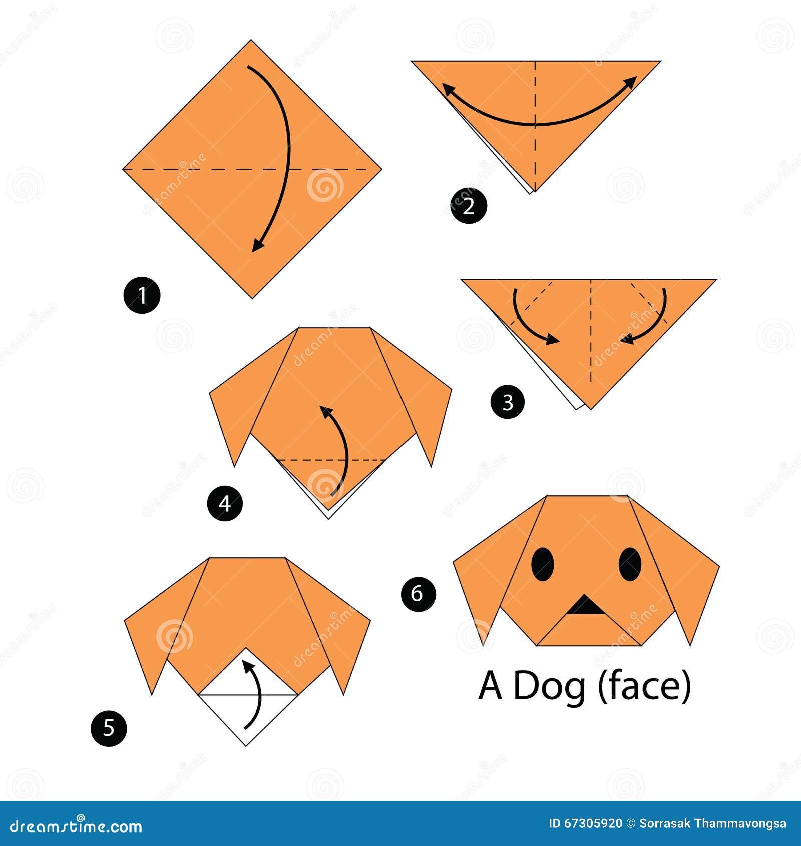instructions tape par tape comment faire le chien d 39 origami illustration de vecteur. Black Bedroom Furniture Sets. Home Design Ideas