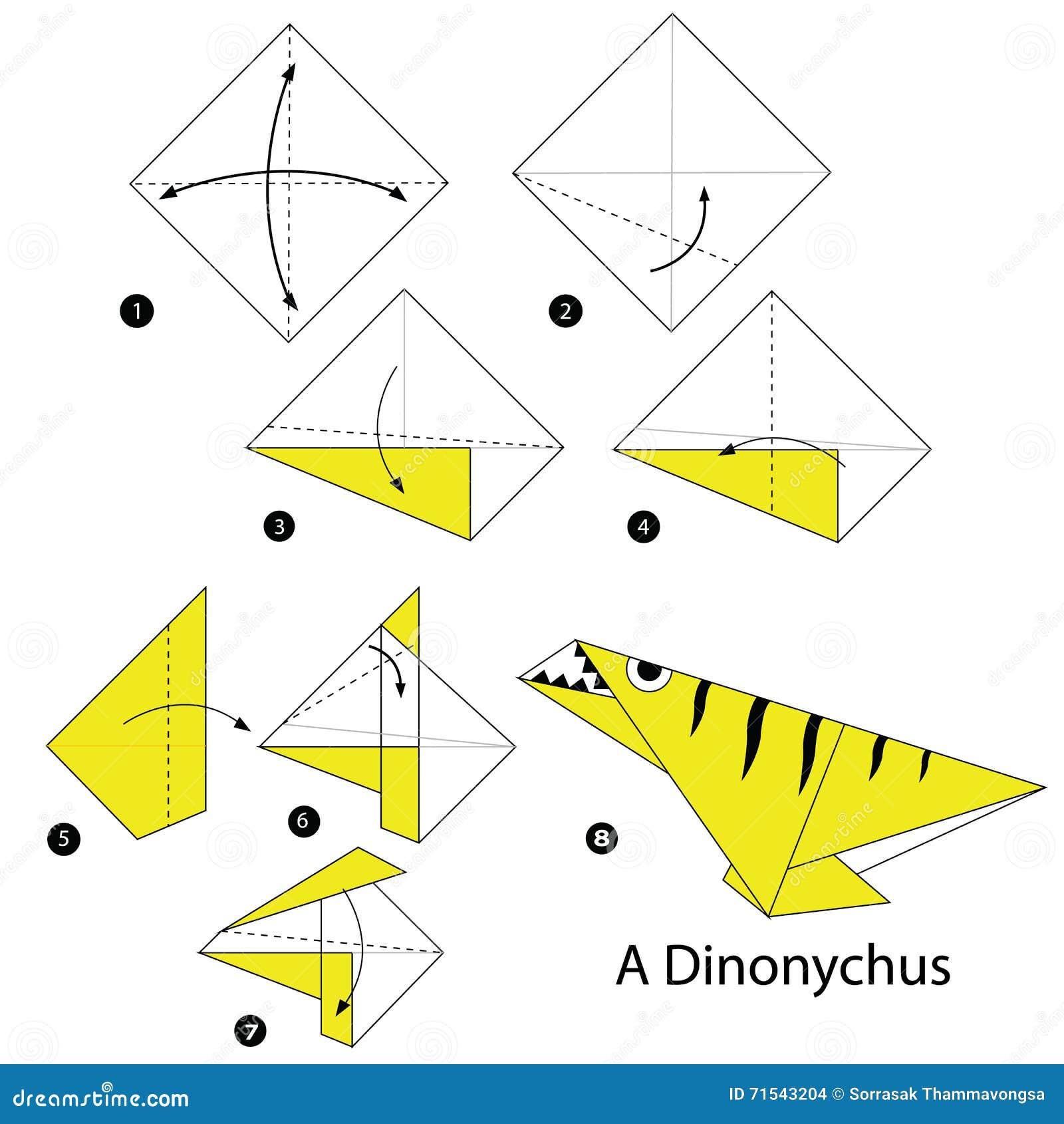 Instructions étape-par-étape comment faire le dinosaure de l origami A