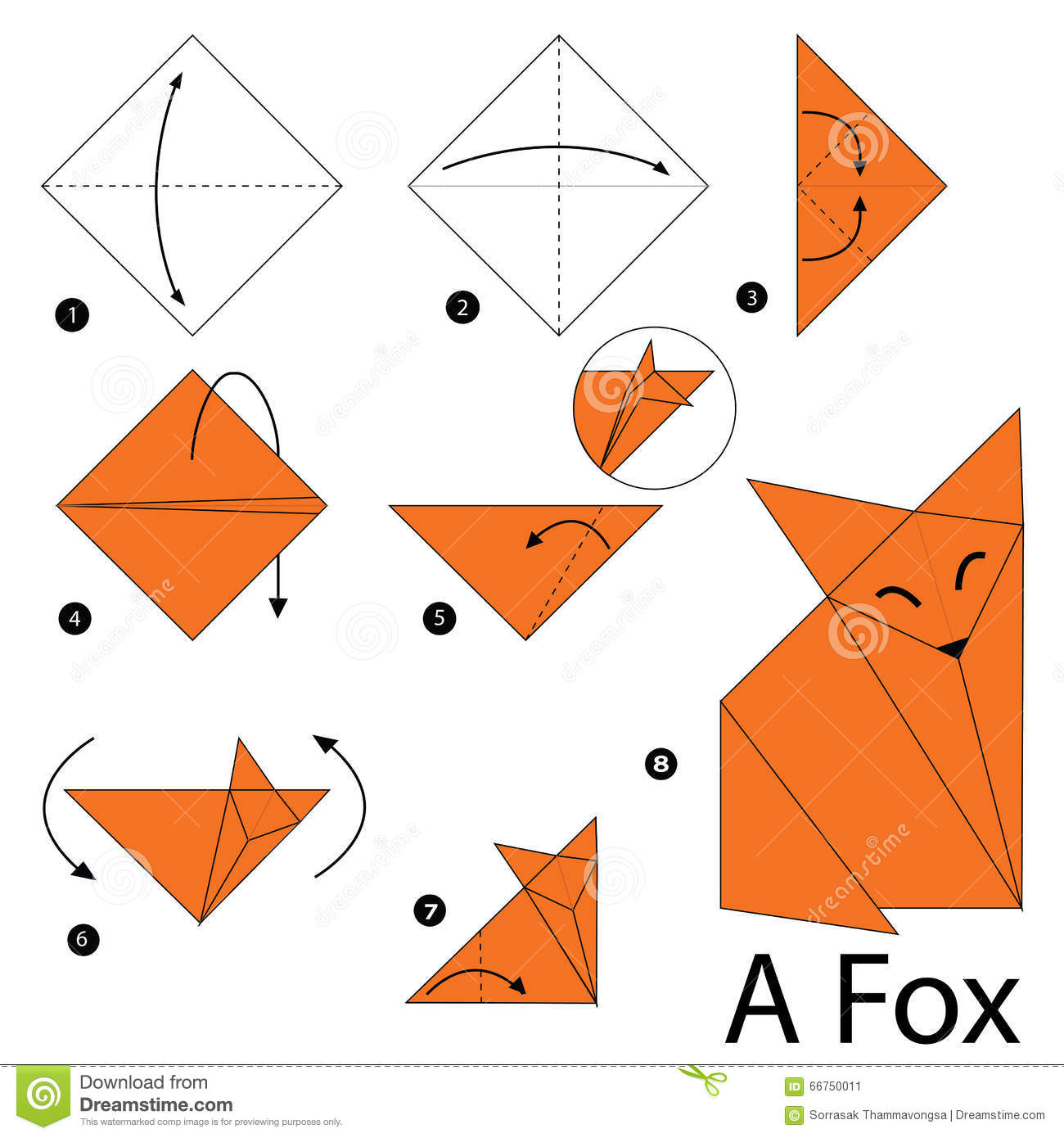 Instructions tape par tape comment faire le fox de l 39 origami a illustra - Comment faire origami ...