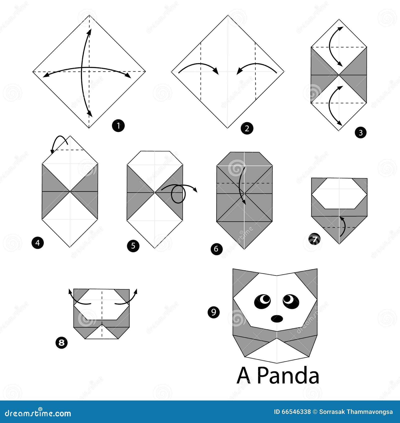 Instructions tape par tape comment faire le panda d 39 origami illustratio - Comment faire un origami ...