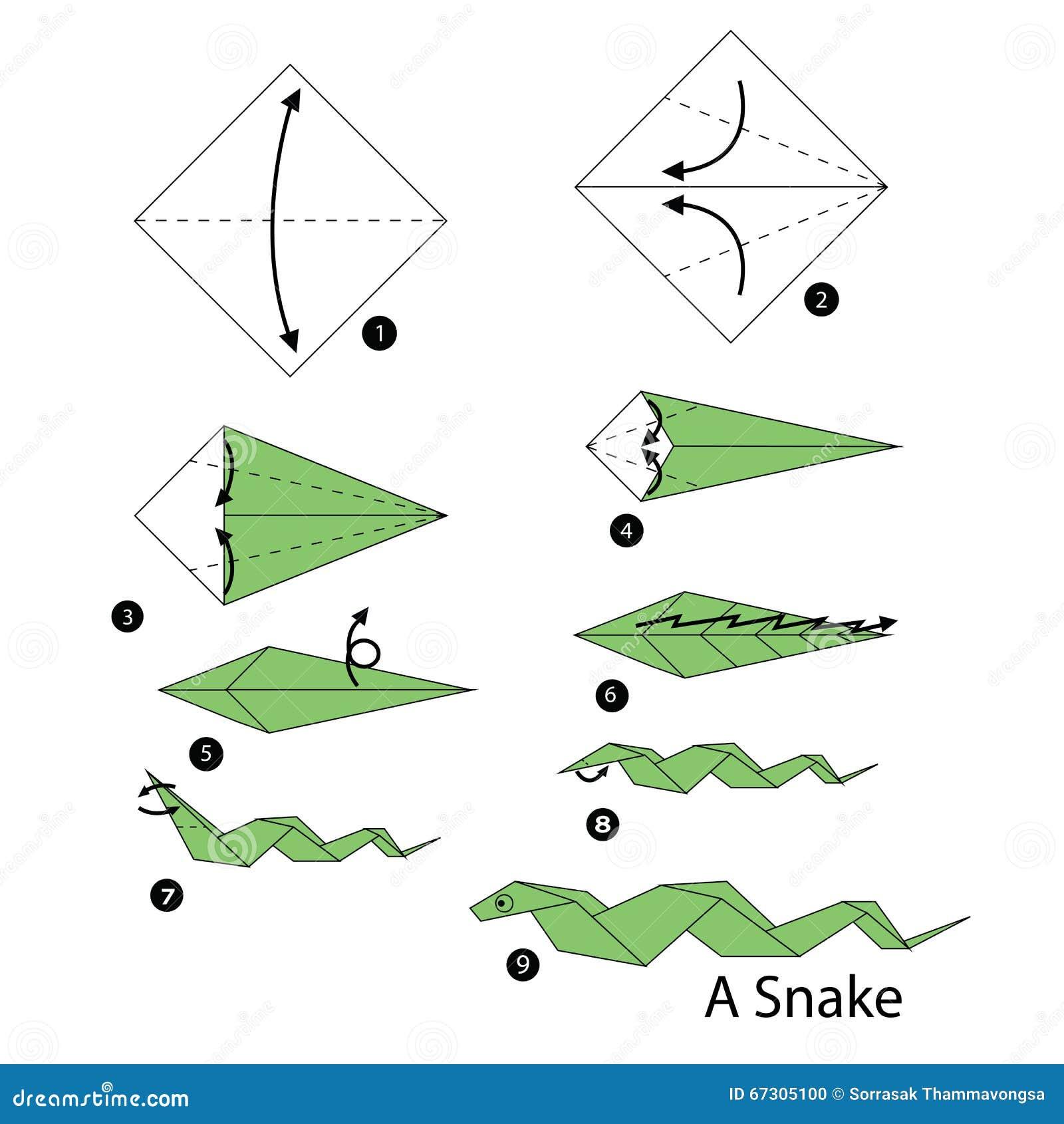 instructions tape par tape comment faire le serpent d 39 origami illustration de vecteur. Black Bedroom Furniture Sets. Home Design Ideas