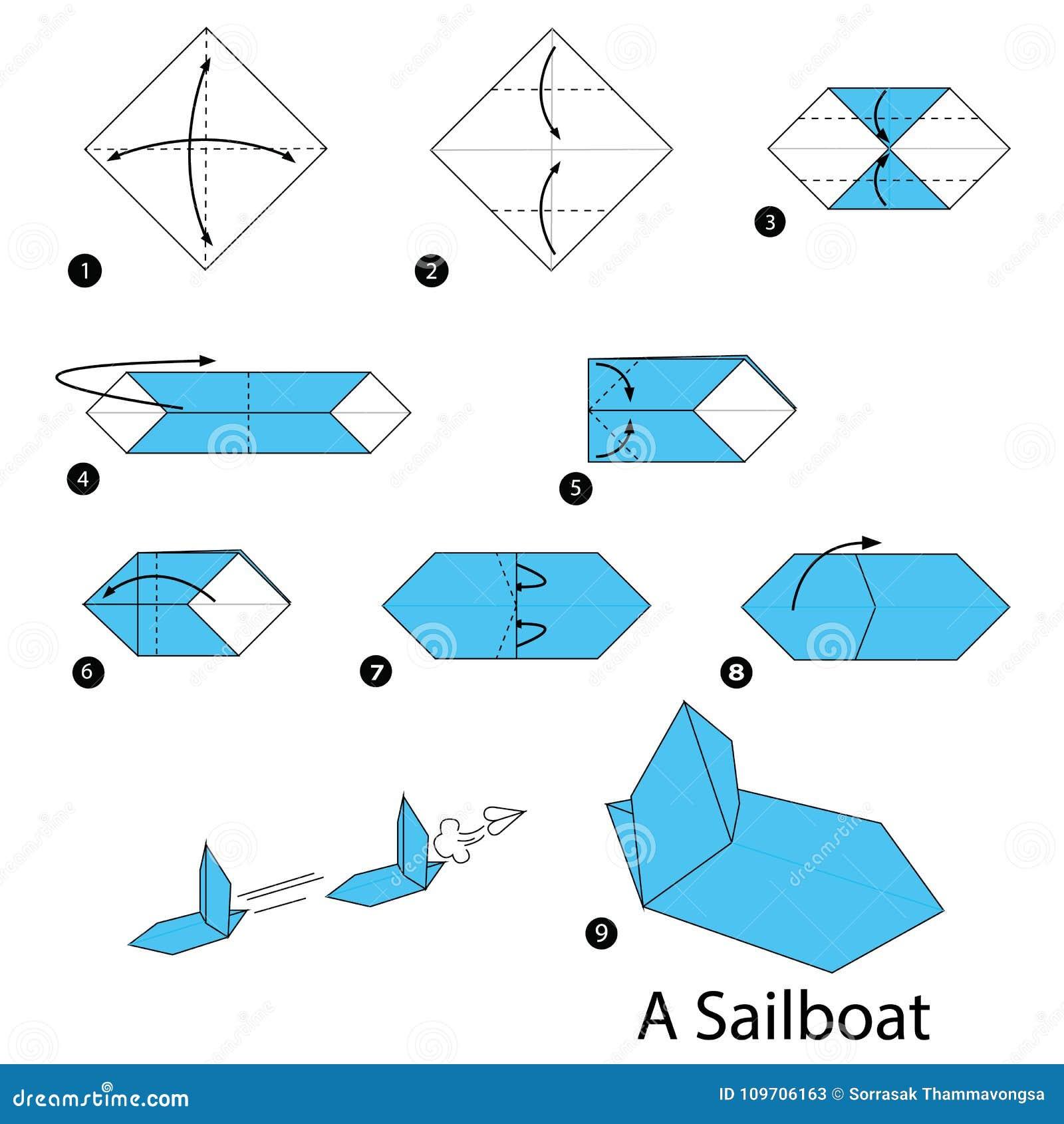 Instructions Etape Par Etape Comment Faire A Origami Un Voilier Illustration De Vecteur Illustration Du Voilier Etape 109706163