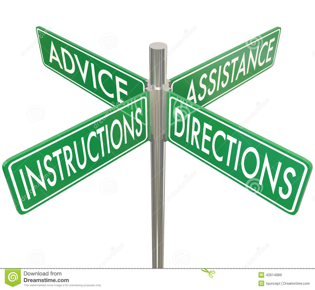 Instructions Directions Advice Assistance Four 4 Way Intersectio