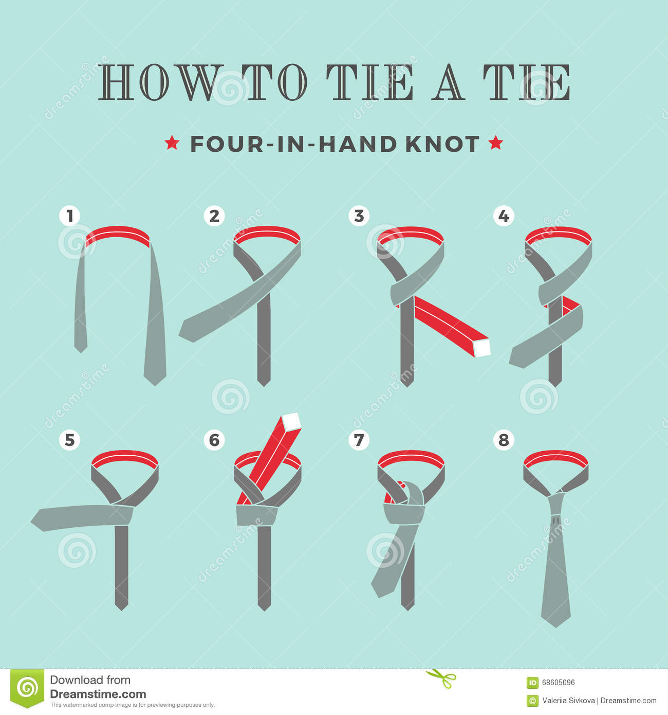 Four Hand Illustration Knot Tie