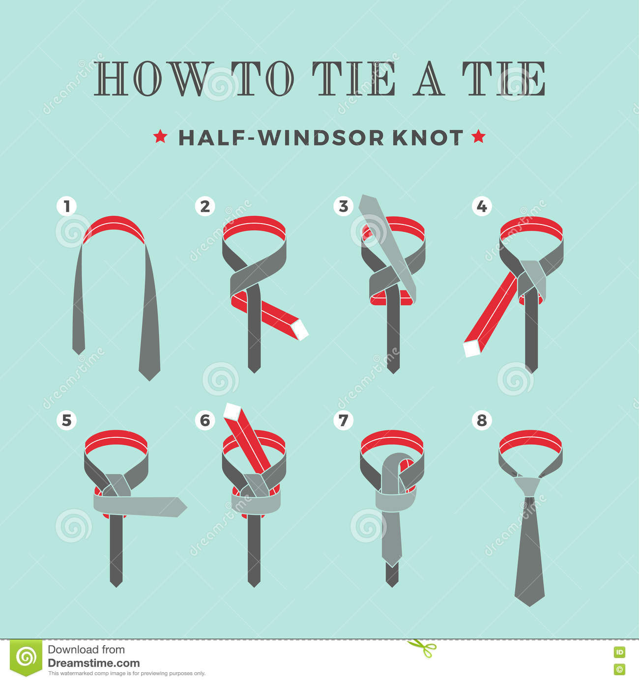 Instructions On How To Tie A Tie On The Turquoise Background Of