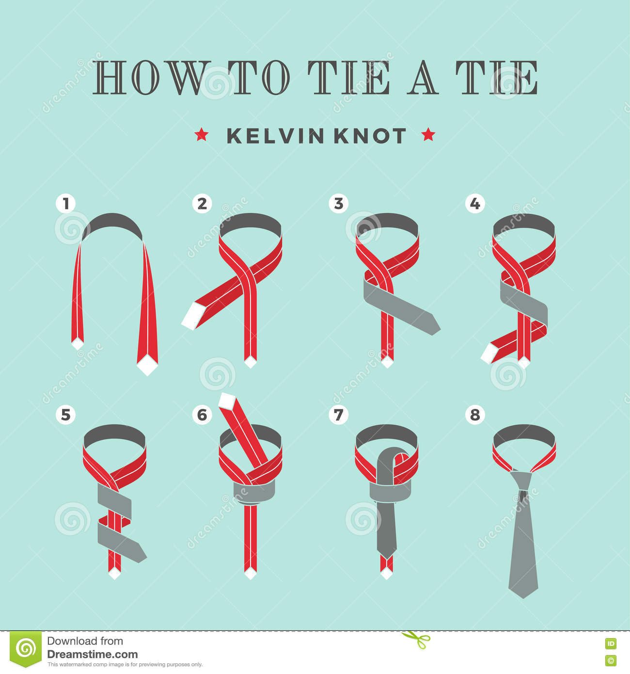 Knot Instructions Instructions On How To Tie A Tie On The Turquoise  Background Of The