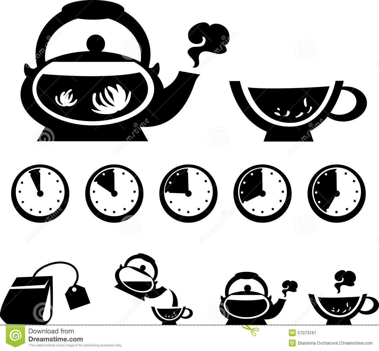 Instructions for making tea, vector icons