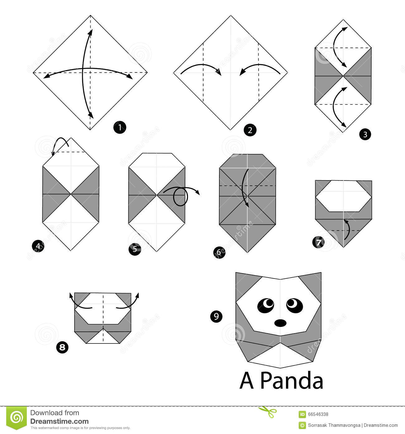 instructions tape par tape comment faire le panda d 39 origami illustration de vecteur image. Black Bedroom Furniture Sets. Home Design Ideas
