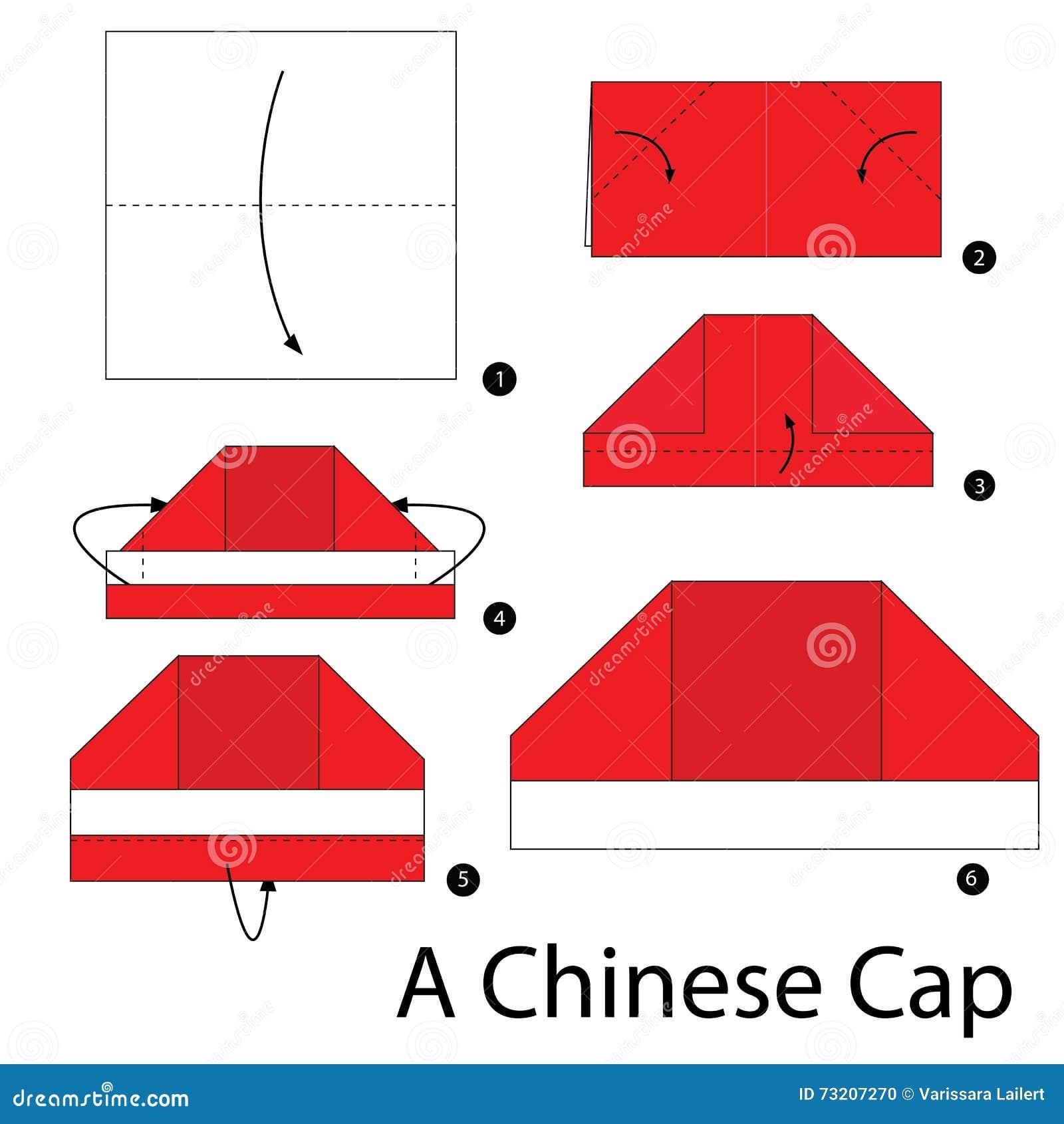illustration stock instructions tape par comment faire origami un chapeau chinois image