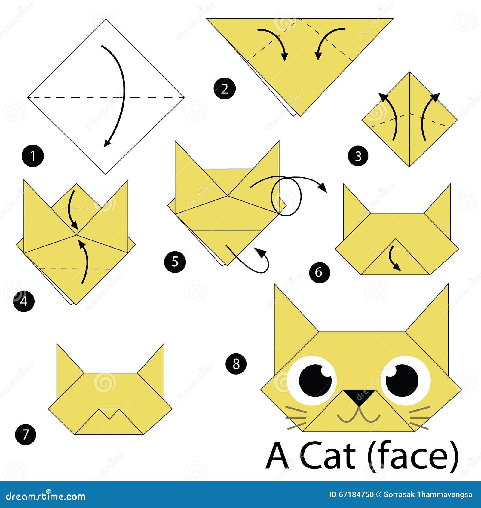 instructions tape par tape comment faire origami un chat illustration de vecteur image. Black Bedroom Furniture Sets. Home Design Ideas