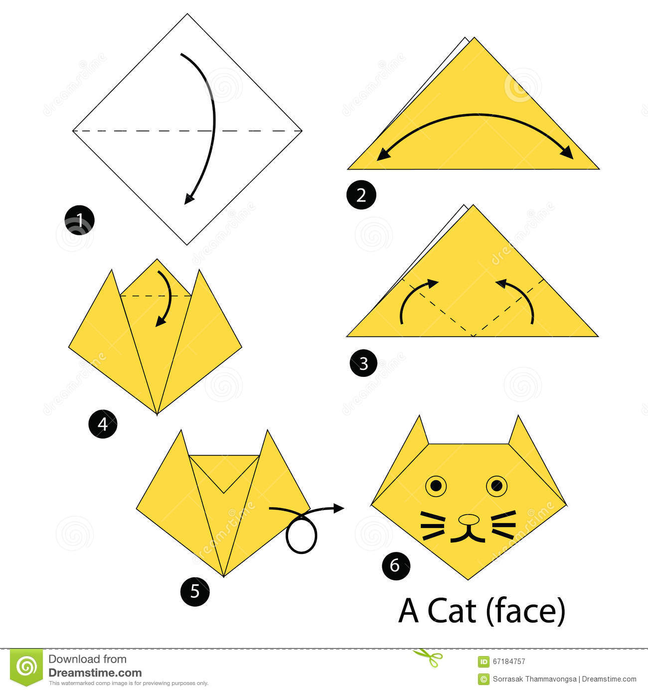 Instructions tape par tape comment faire origami un chat illustration de vecteur image - Origami chat facile ...