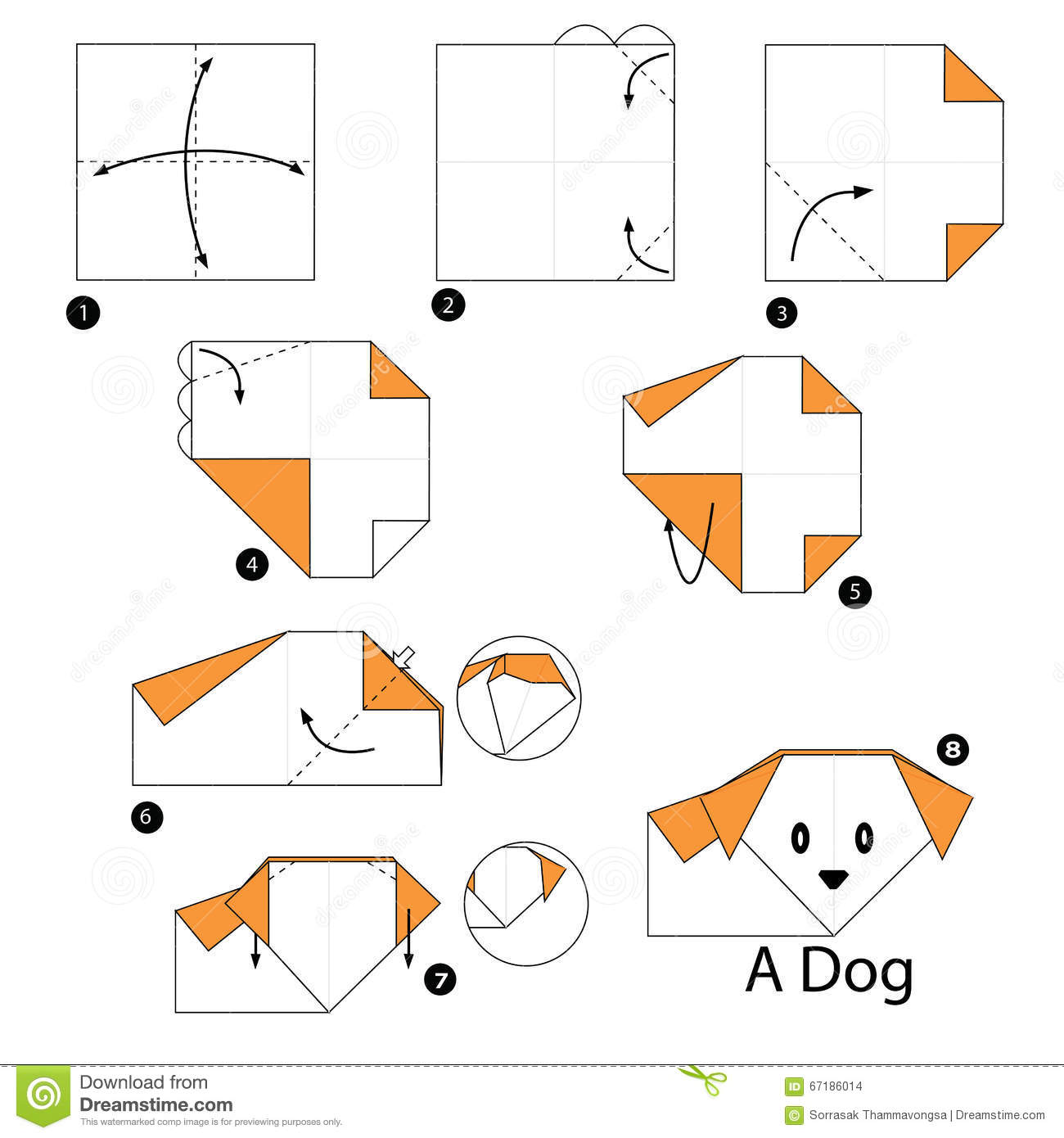 Instructions tape par tape comment faire origami un chien illustration de - Comment faire origami ...