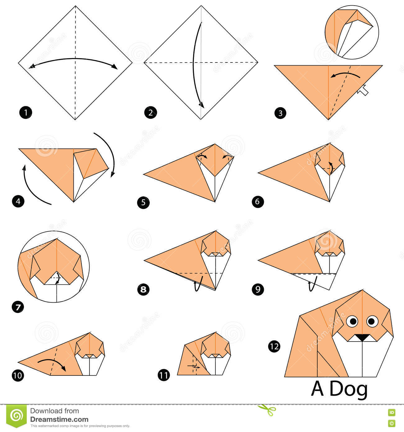 instructions tape par tape comment faire origami un chien illustration de vecteur image. Black Bedroom Furniture Sets. Home Design Ideas