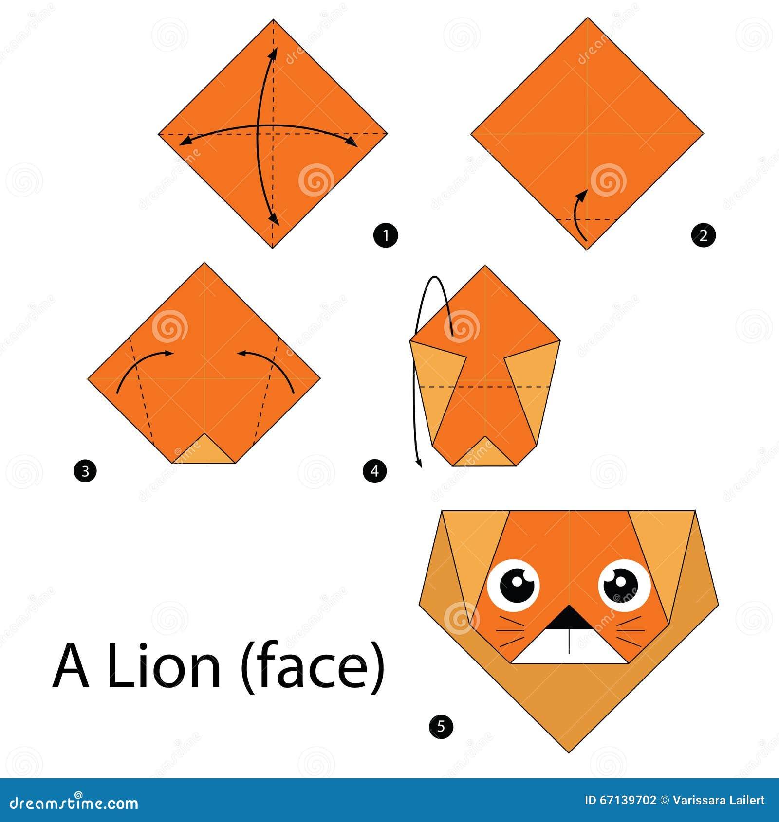 instructions tape par tape comment faire origami un lion illustration de vecteur image. Black Bedroom Furniture Sets. Home Design Ideas