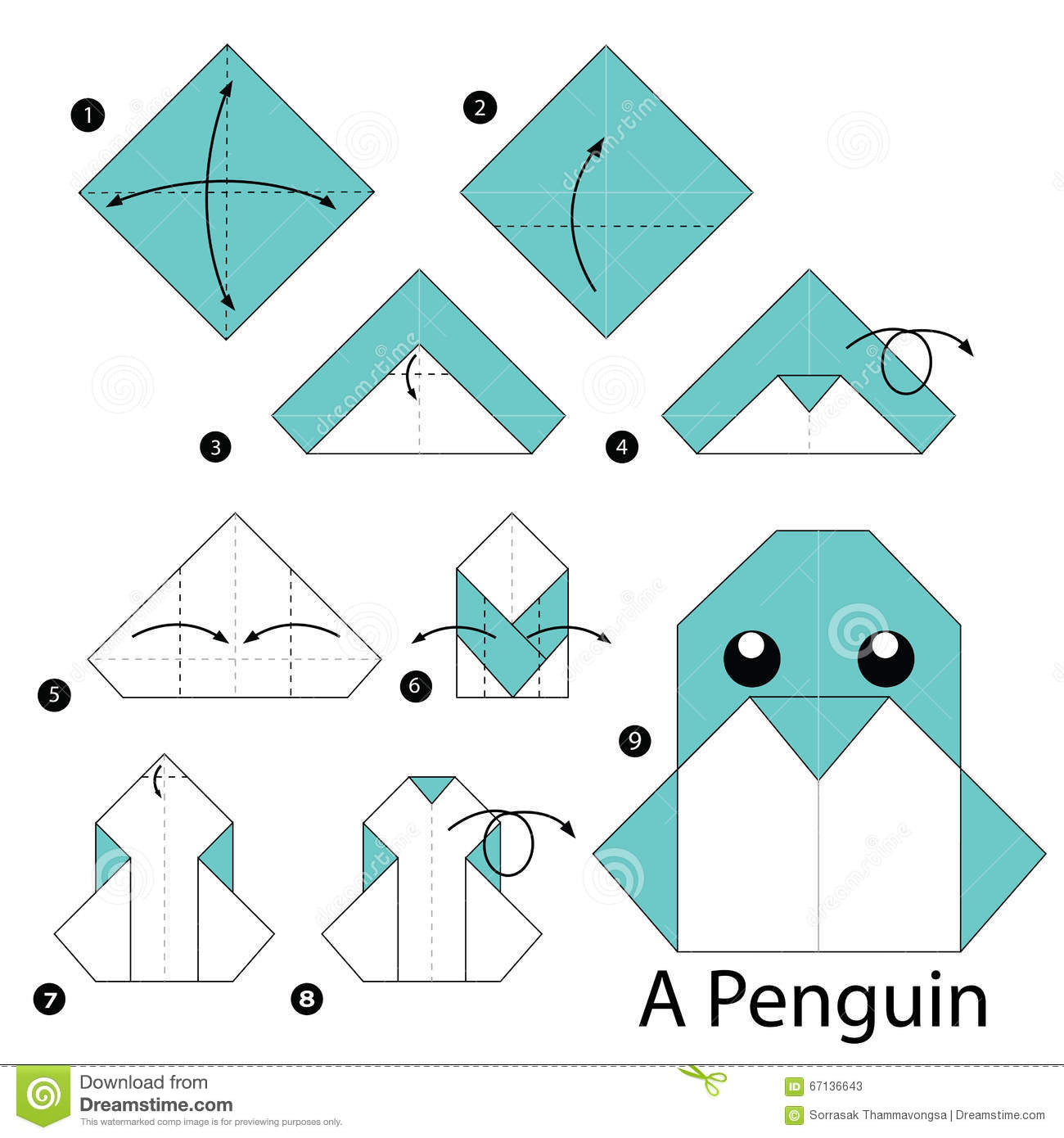 instructions tape par tape comment faire origami un pingouin illustration de vecteur image. Black Bedroom Furniture Sets. Home Design Ideas