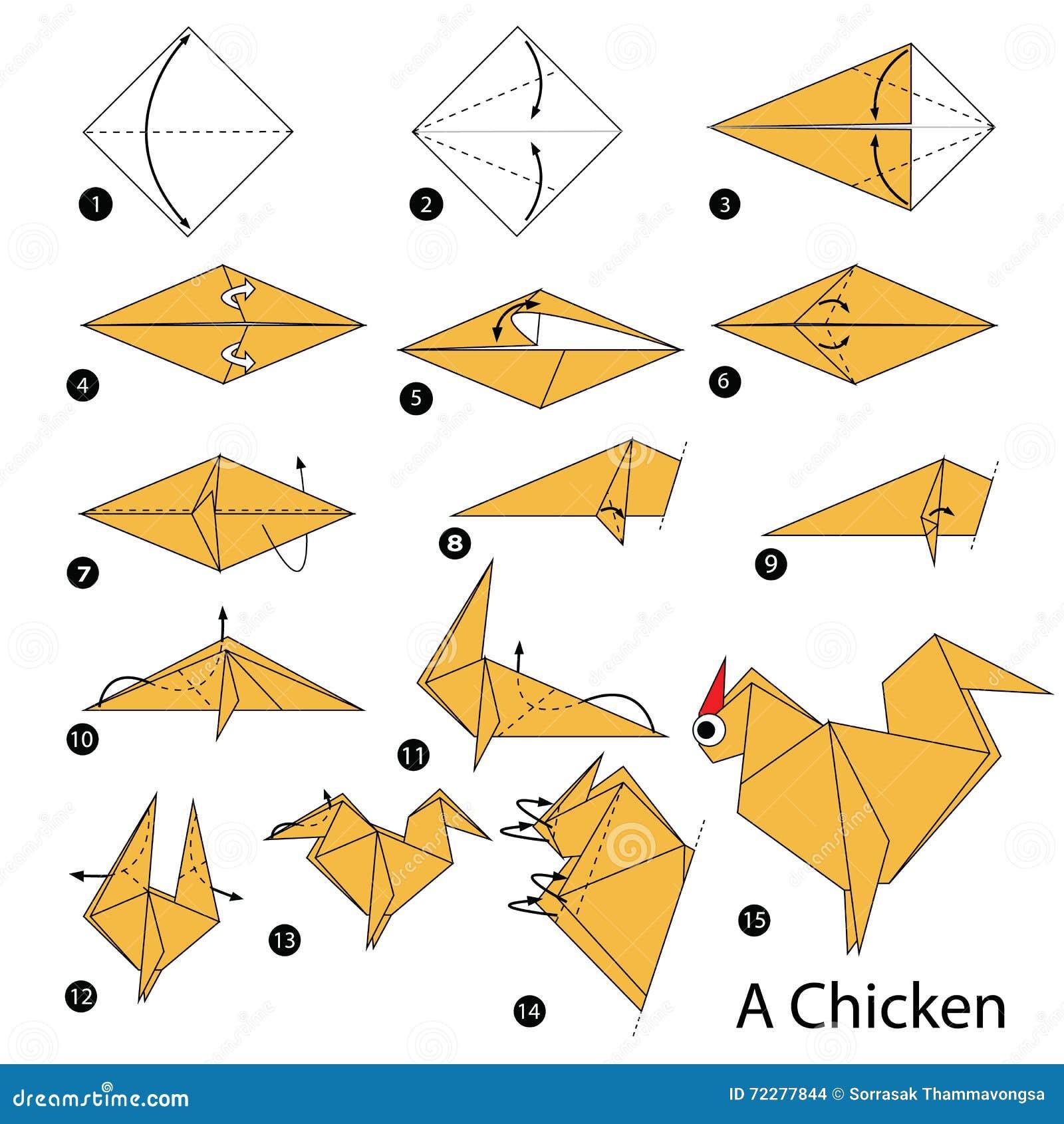 instructions tape par tape comment faire origami un poulet illustration de vecteur image. Black Bedroom Furniture Sets. Home Design Ideas