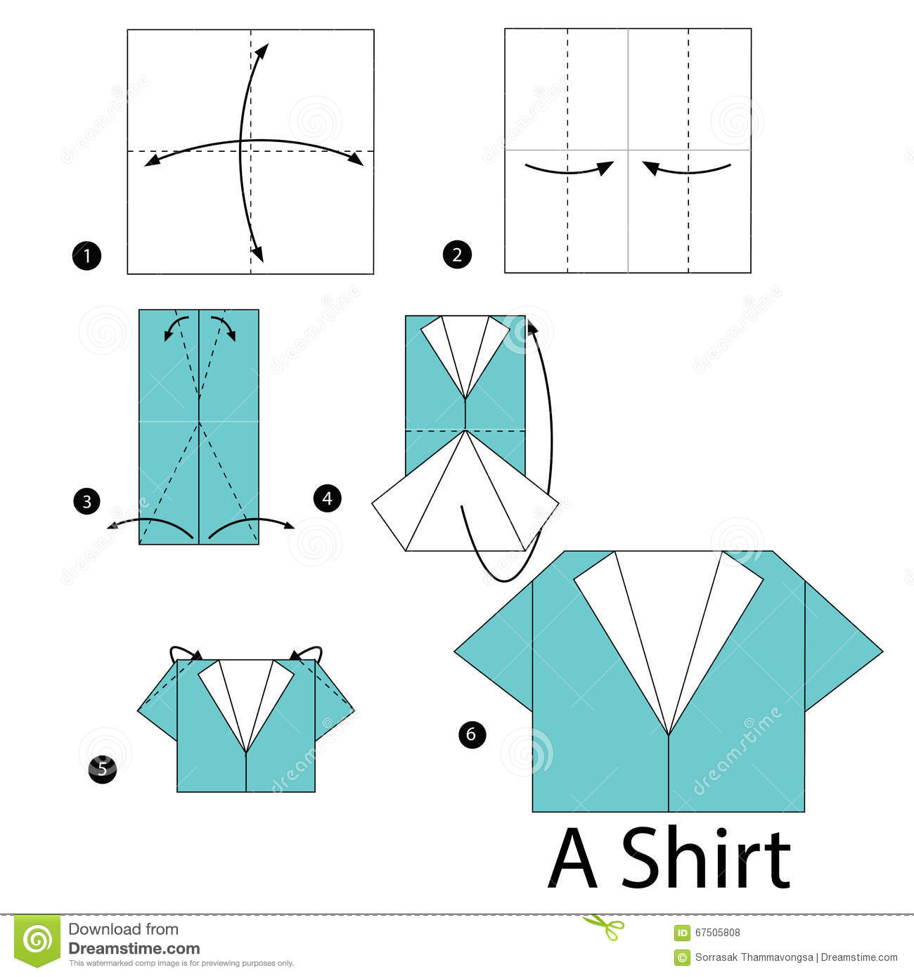 instructions tape par tape comment faire origami une chemise illustration de vecteur image. Black Bedroom Furniture Sets. Home Design Ideas