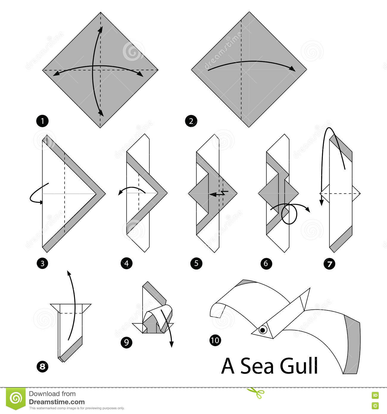 instructions tape par tape comment faire origami une mouette illustration de vecteur image. Black Bedroom Furniture Sets. Home Design Ideas