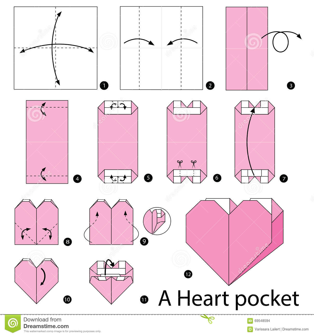 instructions tape par tape comment faire origami une poche de coeur illustration de vecteur. Black Bedroom Furniture Sets. Home Design Ideas