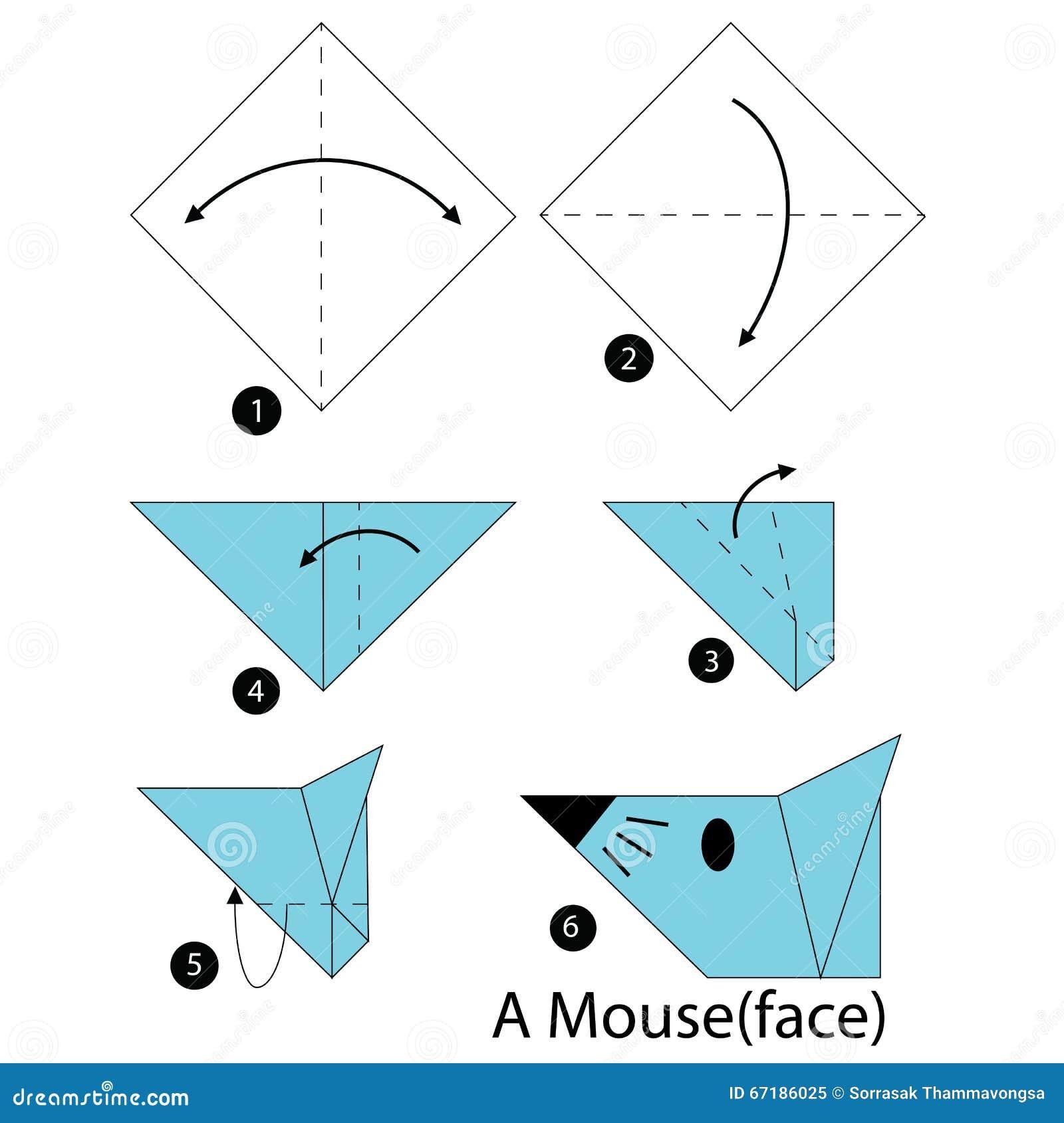 instructions tape par tape comment faire origami une souris illustration de vecteur image. Black Bedroom Furniture Sets. Home Design Ideas