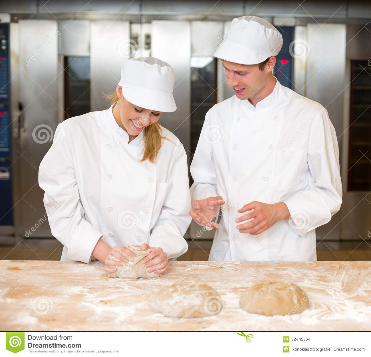 Instructor And Baker Apprentice Kneading Bread Dough Stock Photo - Image: 32445364