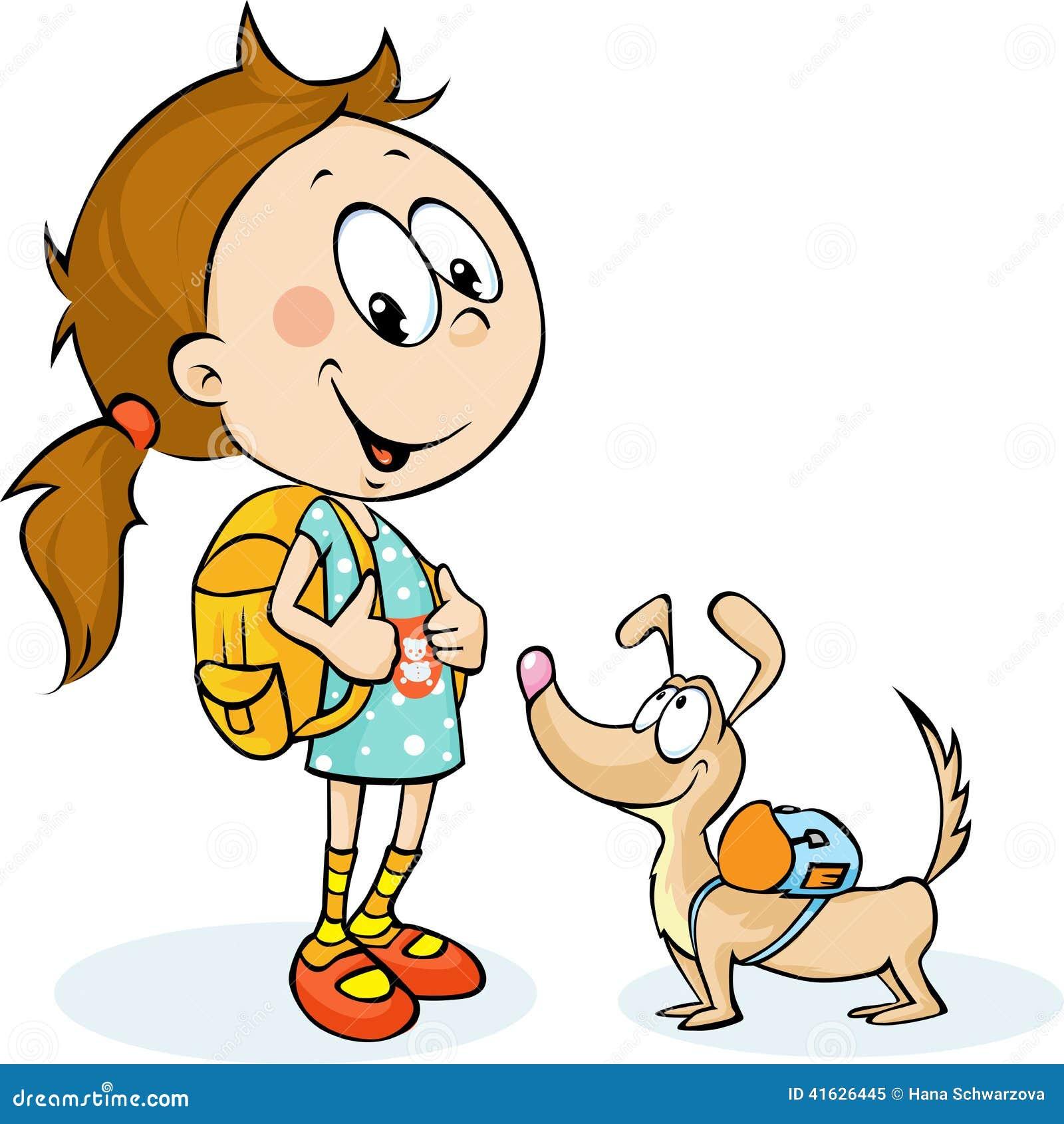 Instruisez la fille et le chien avec le cartable vecteur - Clipart cartable ...