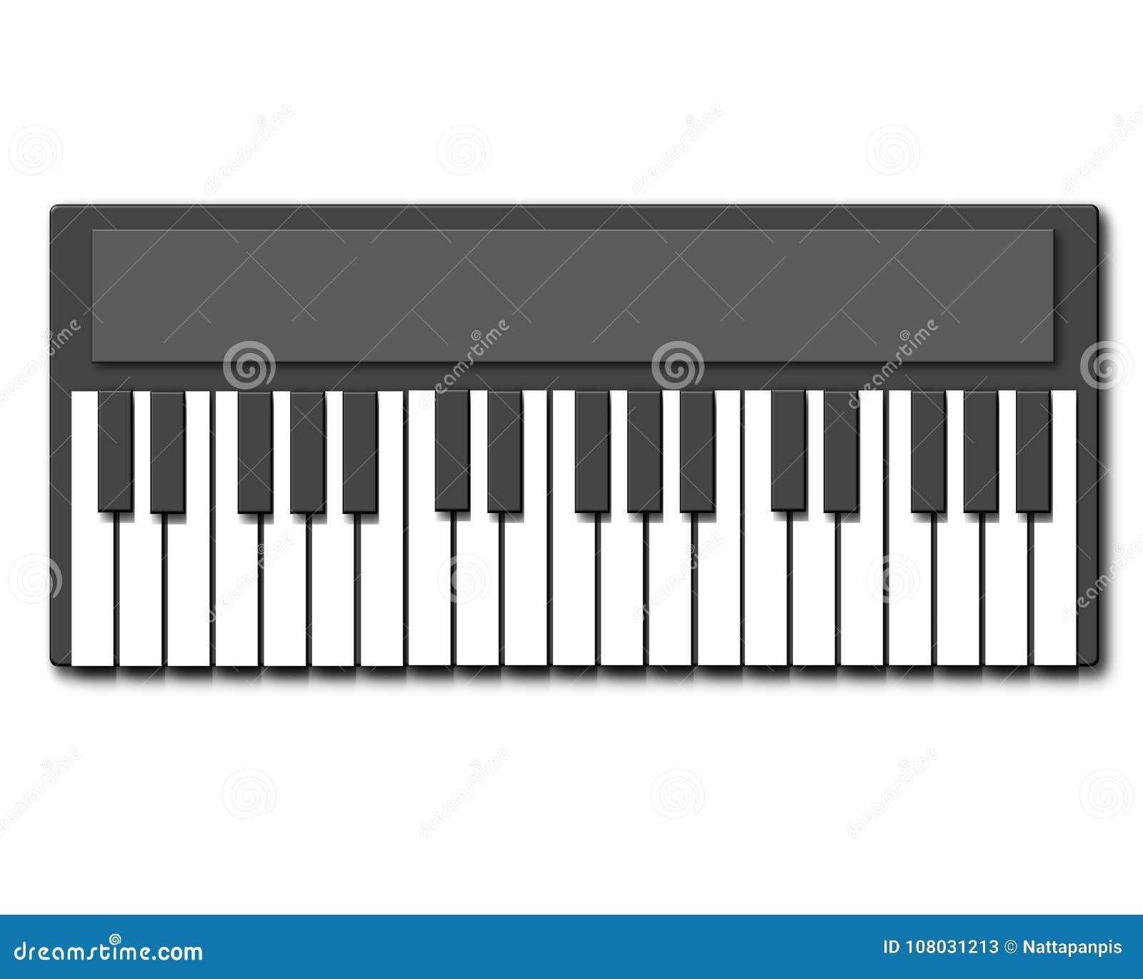 Dessin De Piano instrument de musique, clavier de piano illustration stock