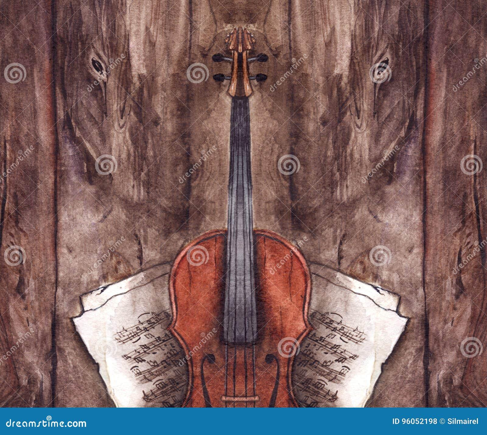 Instrument de musique de violon de violon de vintage d aquarelle avec des notes de musique sur le fond en bois de texture