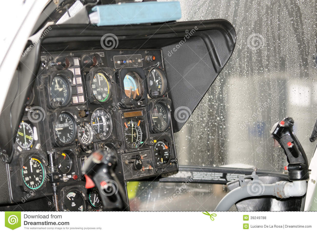 Instrumentation in rescue helicopter, cockpit