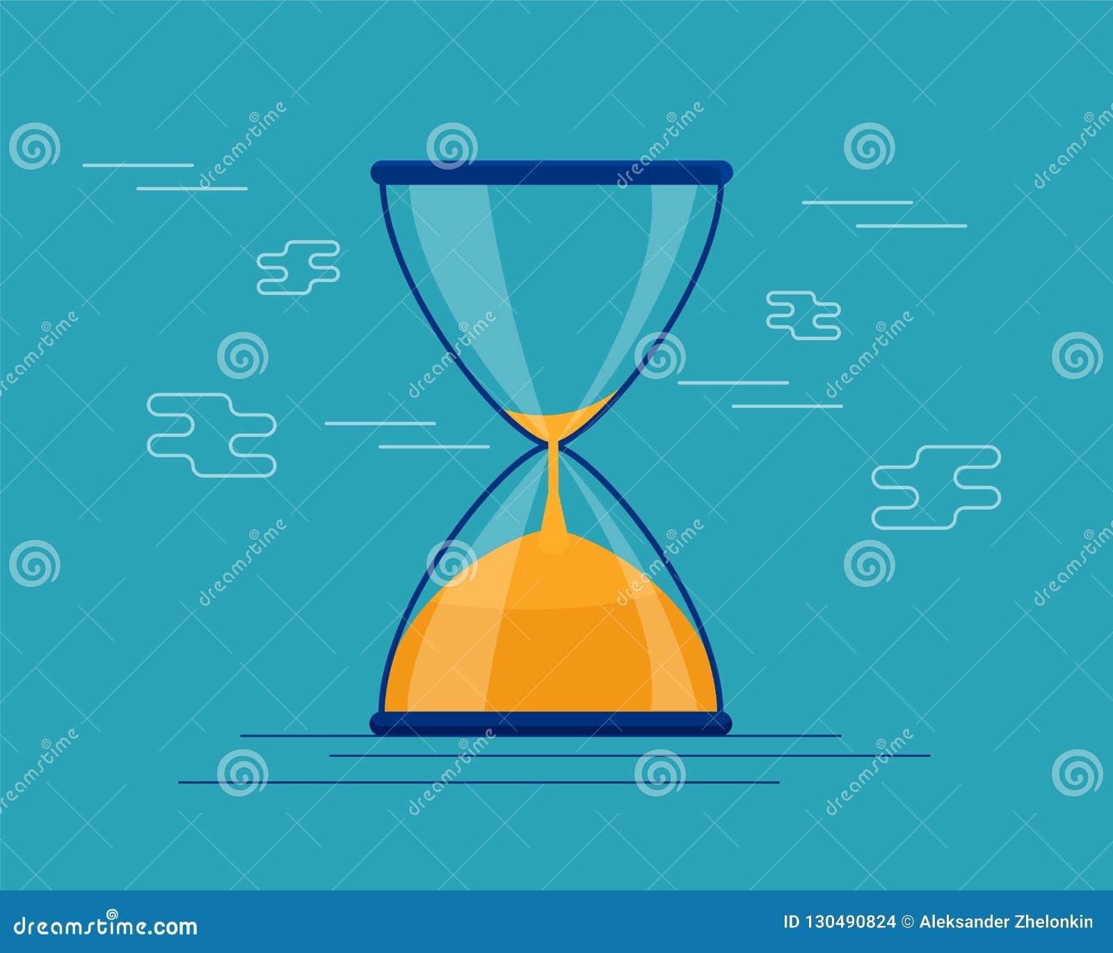 Instrumento antigo da ampulheta Ampulheta como a hora que passa o conceito para o fim do prazo, a urgência e o corredor do negóci