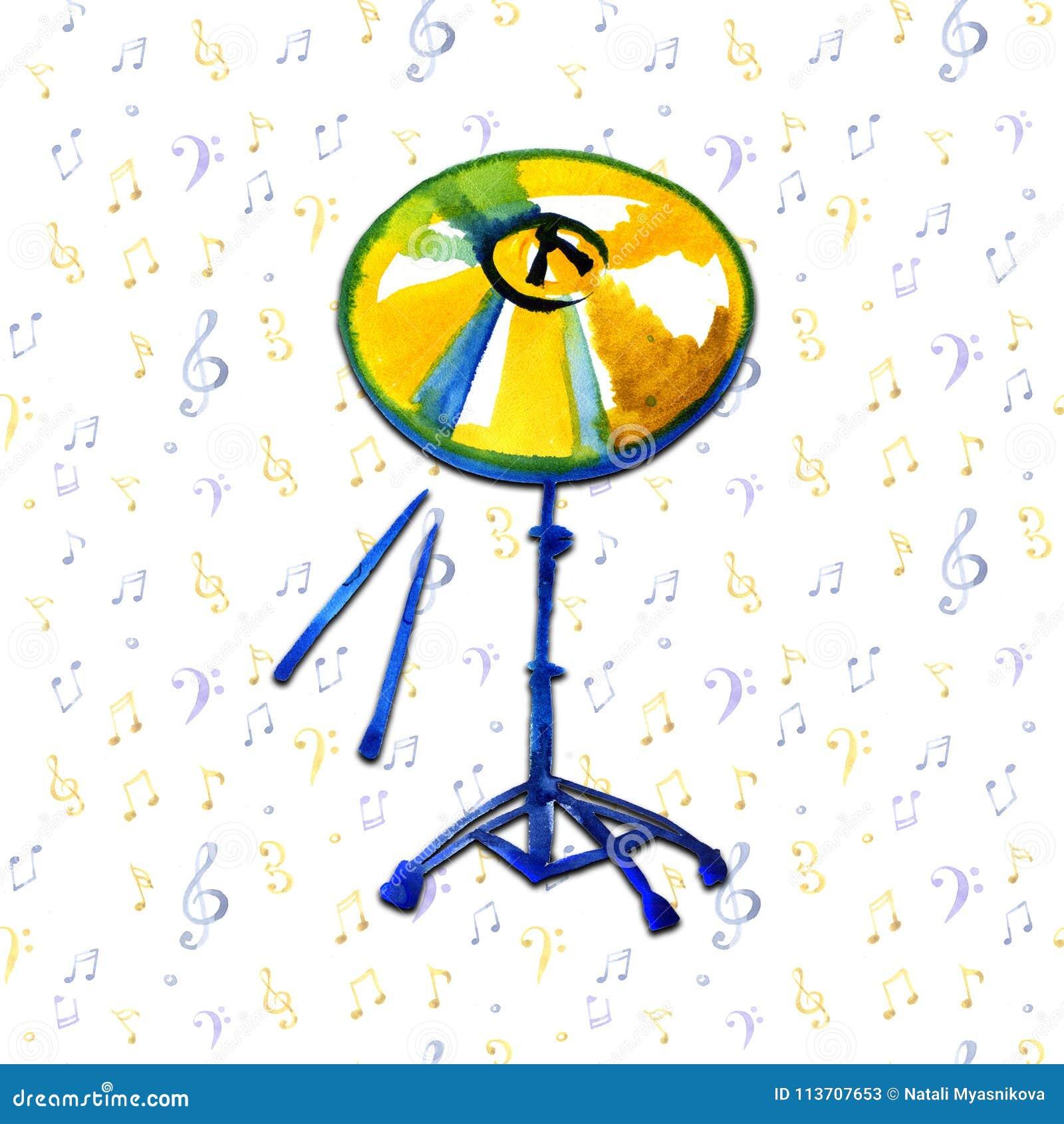 Instrumento musical Pratos dourados da aquarela Isolado no fundo das notas