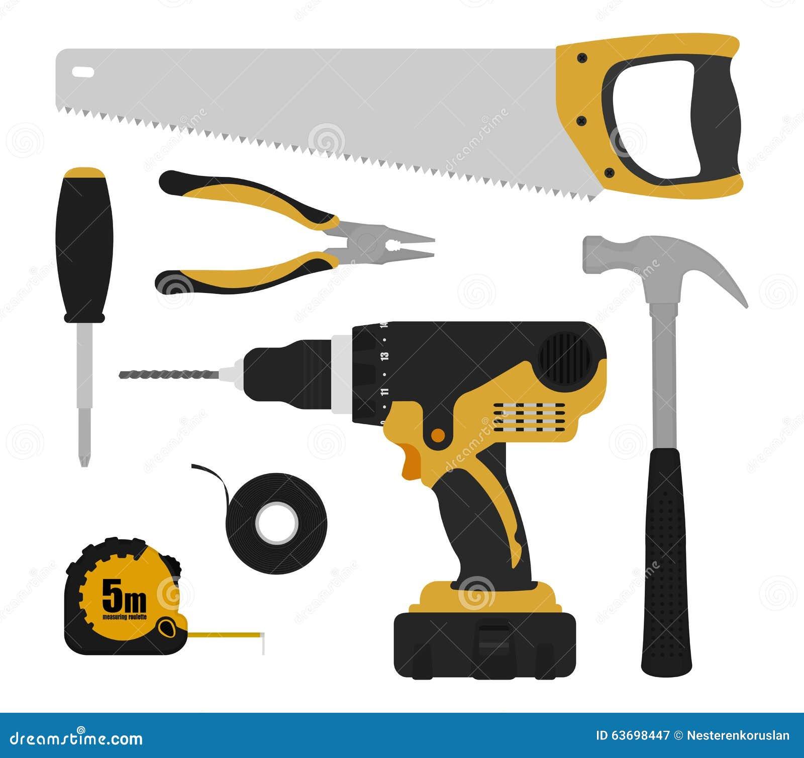 Instrumentos Das Ferramentas Da Construção Ajustados Ilustração do  #B0861B 1300x1242