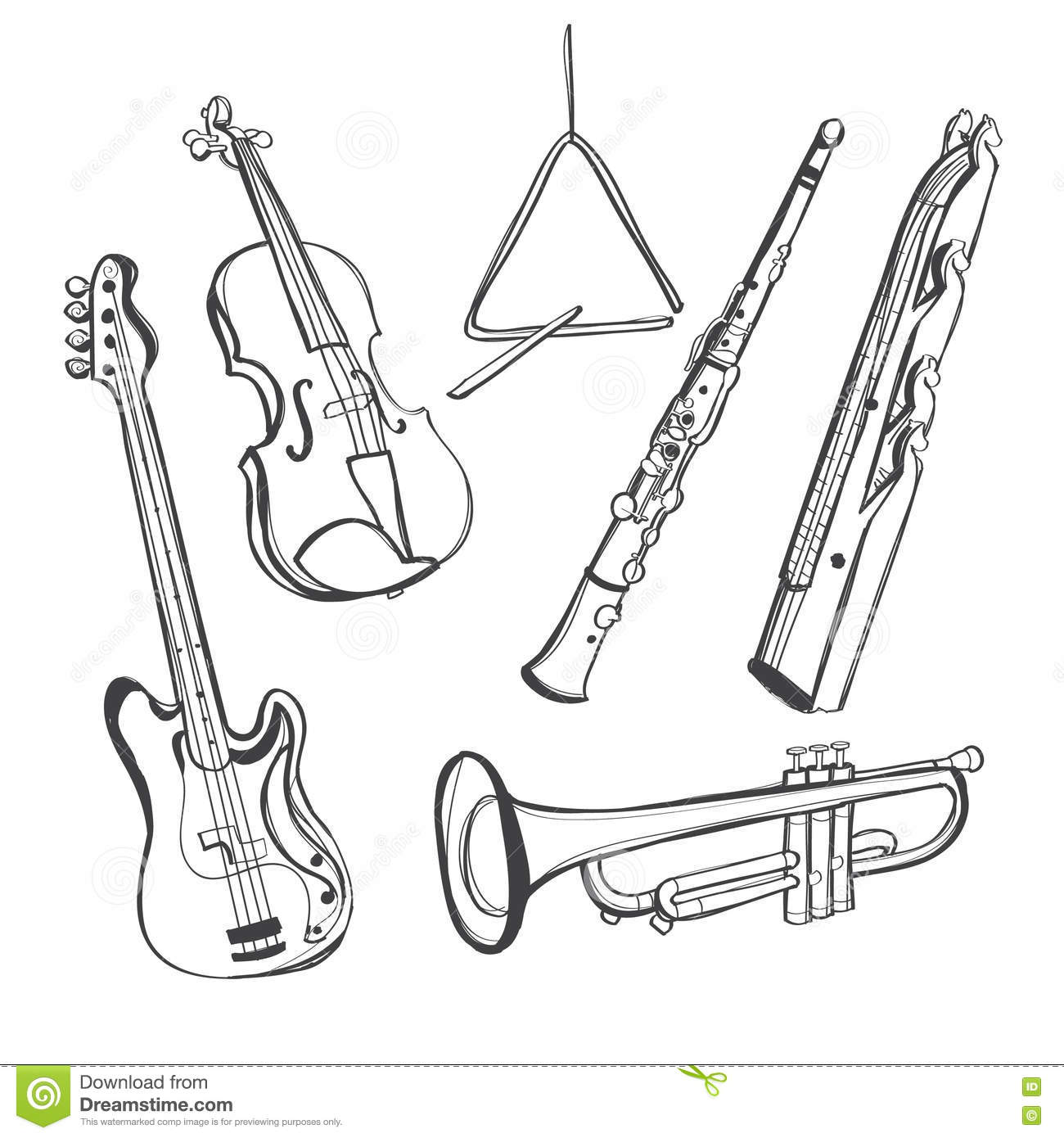 brass family instruments coloring pages - photo#17