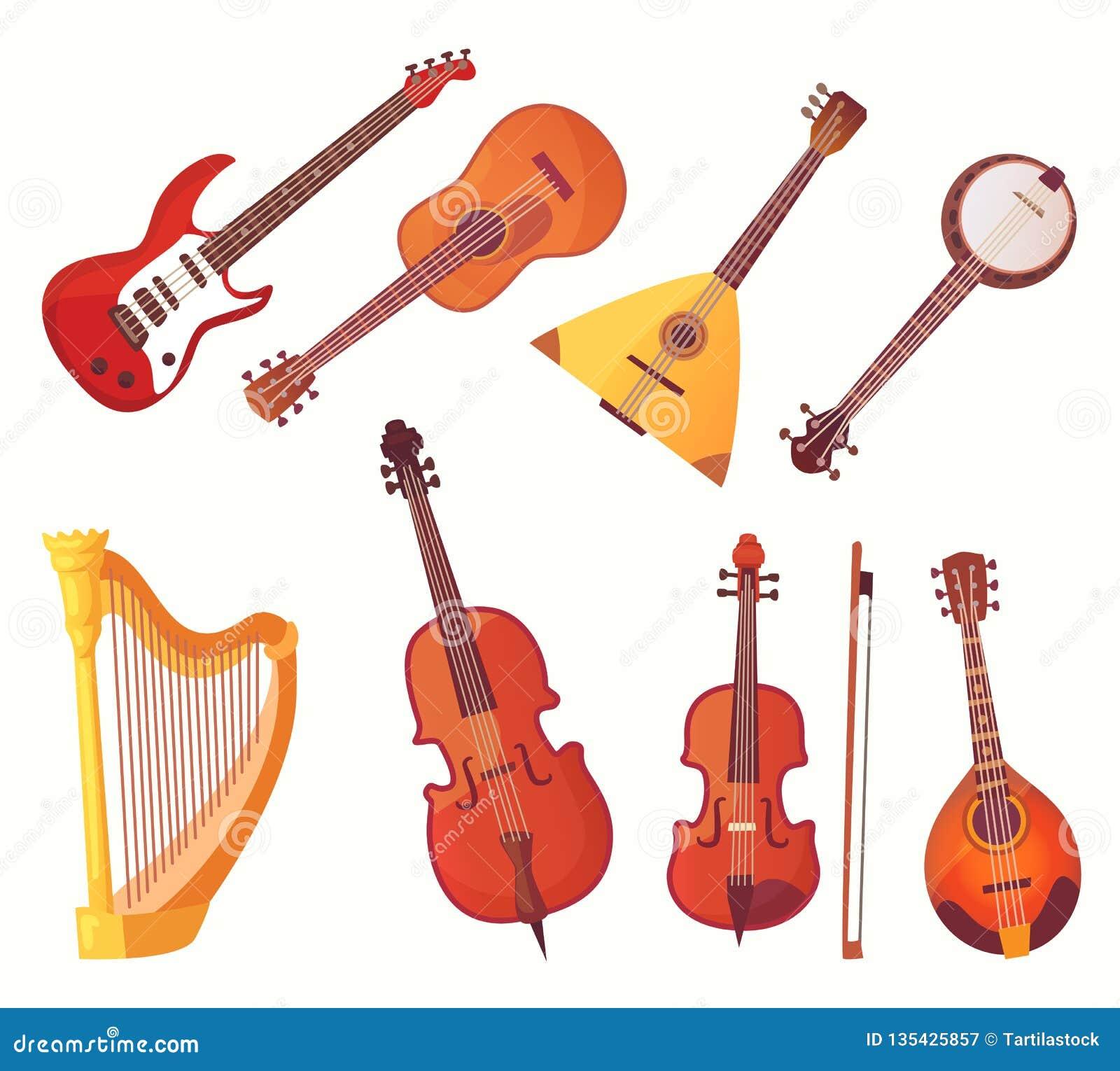 Instrumentos musicales de la historieta Colección del vector del instrumento de música de las guitarras