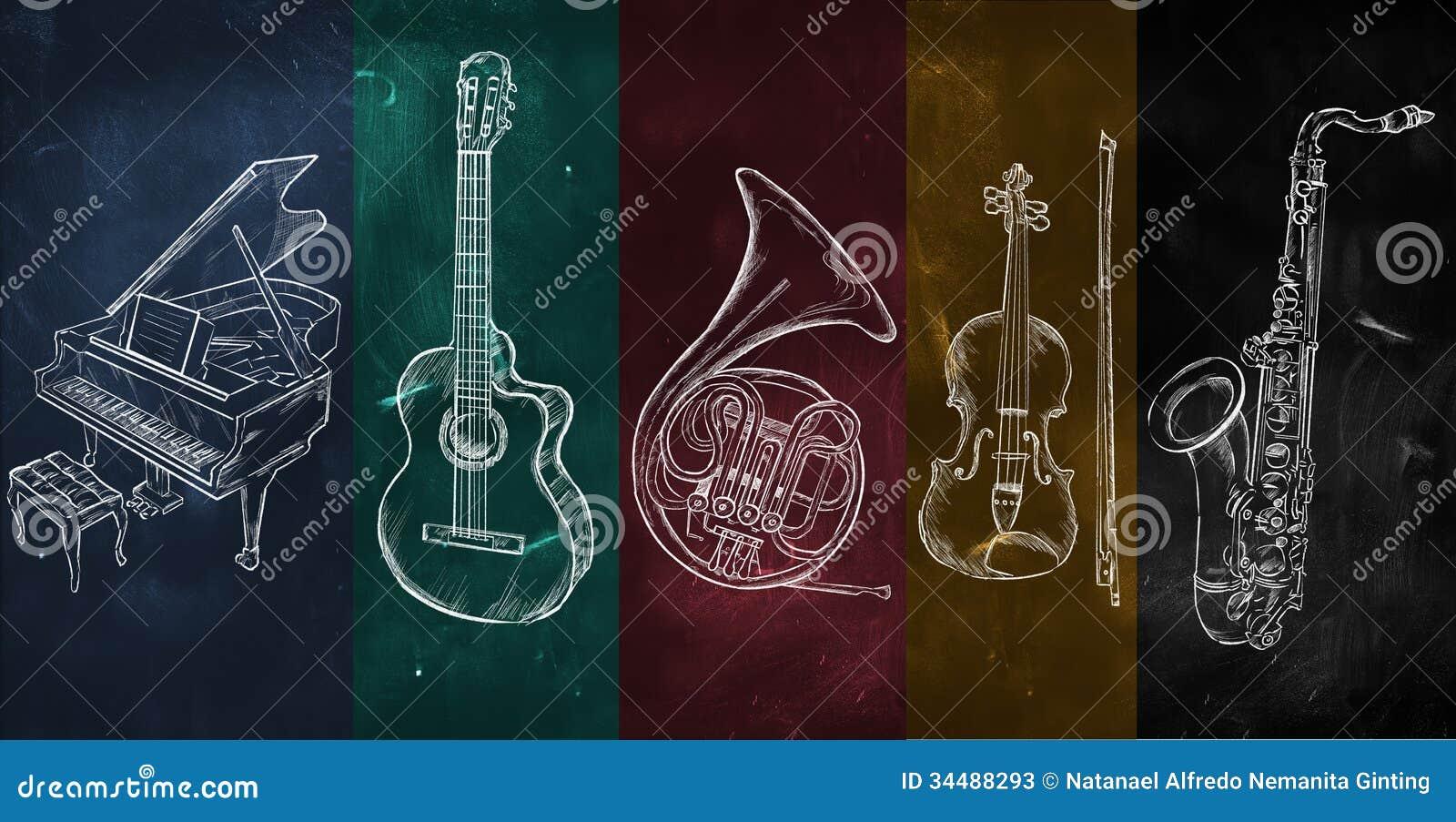 Instruments de dessin colorés de fond de musique