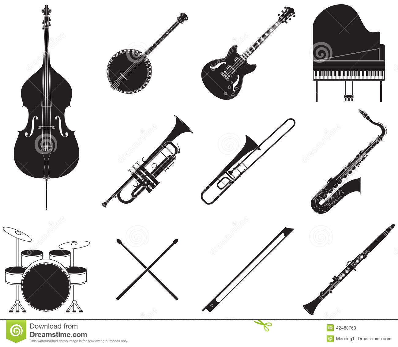Instruments De Musique De Jazz R 233 Gl 233 S Illustration De
