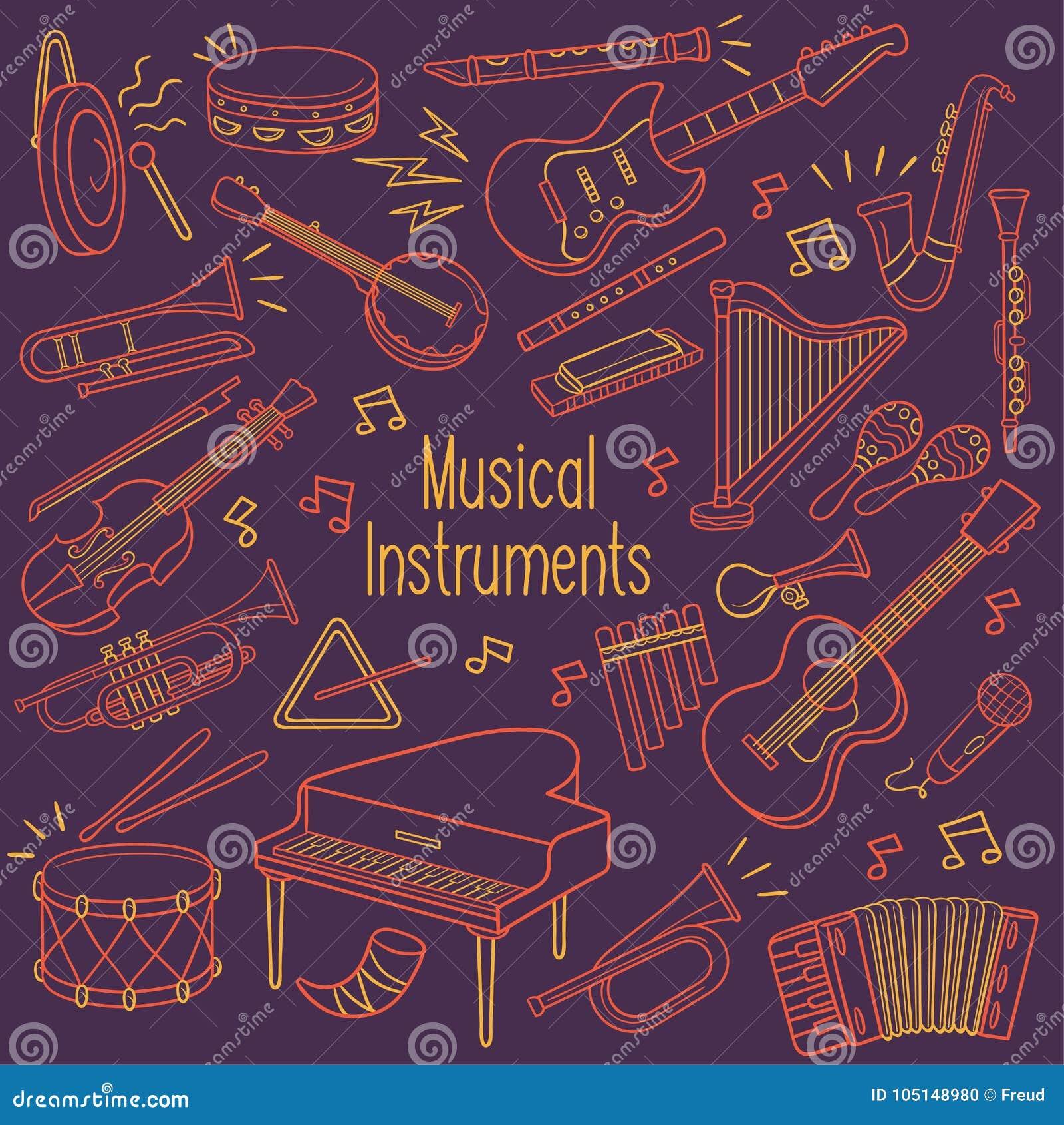 Instruments de musique de griffonnage dans la couleur au néon