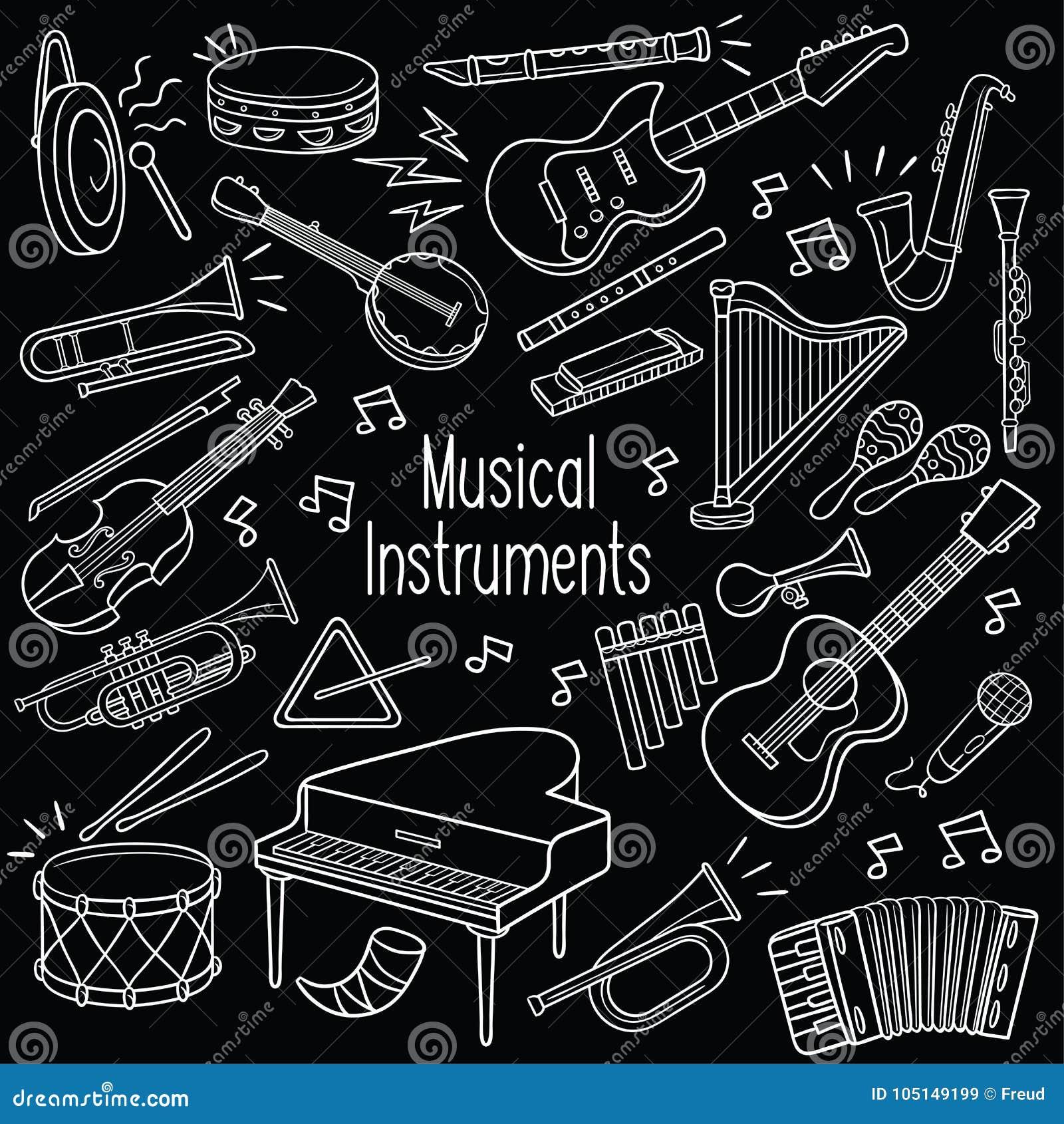 Instruments de musique de griffonnage dans le tableau