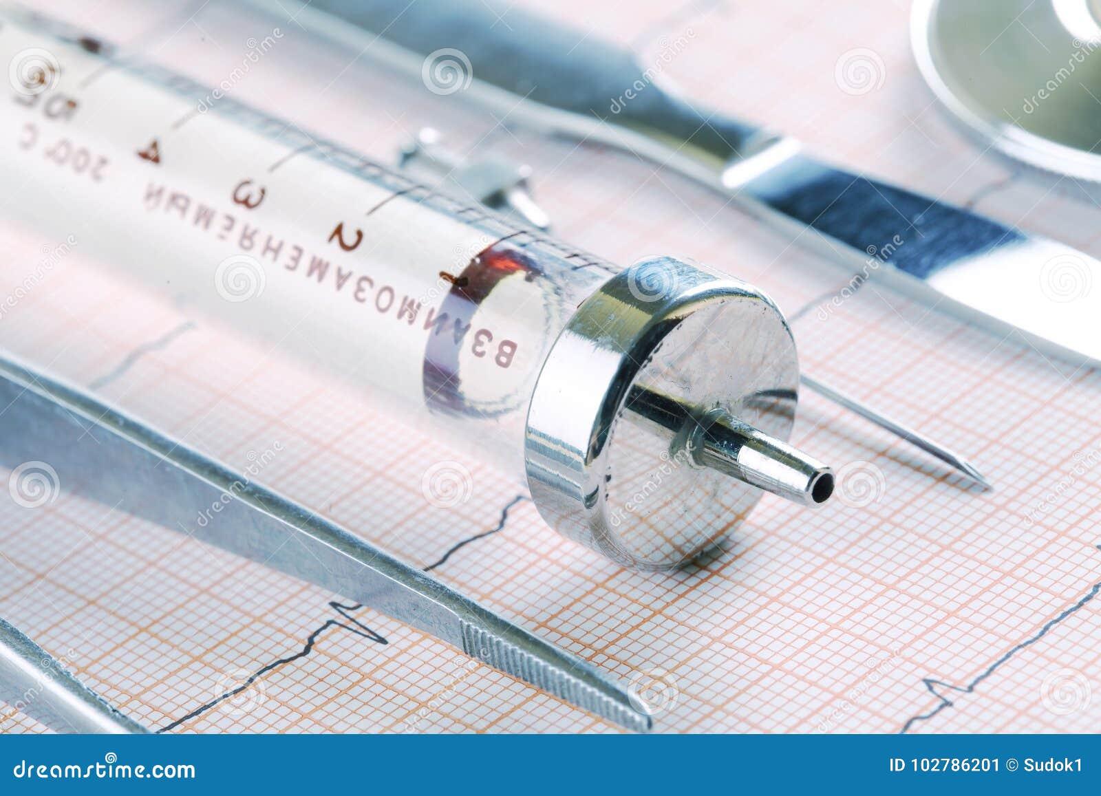 Instruments médicaux périmés se trouvant sur le papier d ECG