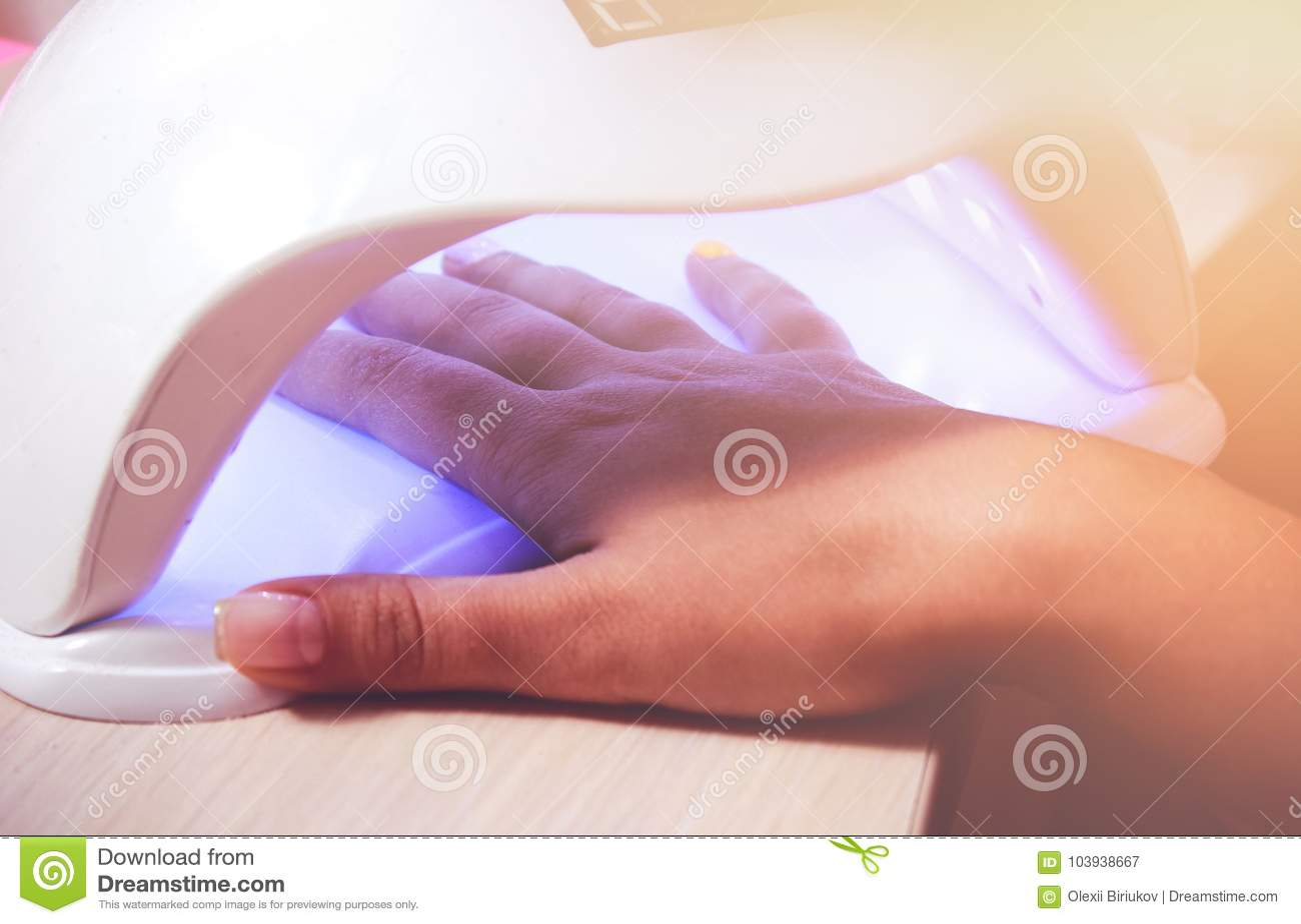 Instruments UV Lamp Gel Manicure Process In A Beauty Salon. Salon ...