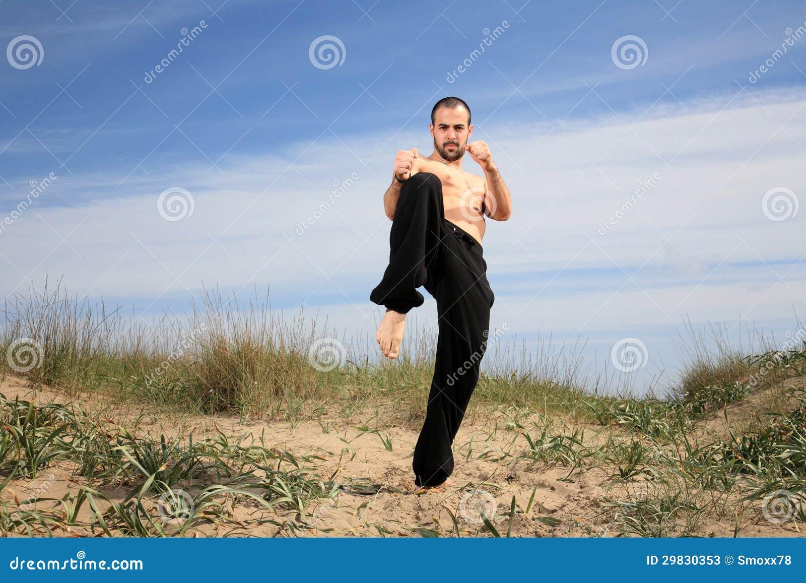 Exercício do instrutor das artes marciais exterior