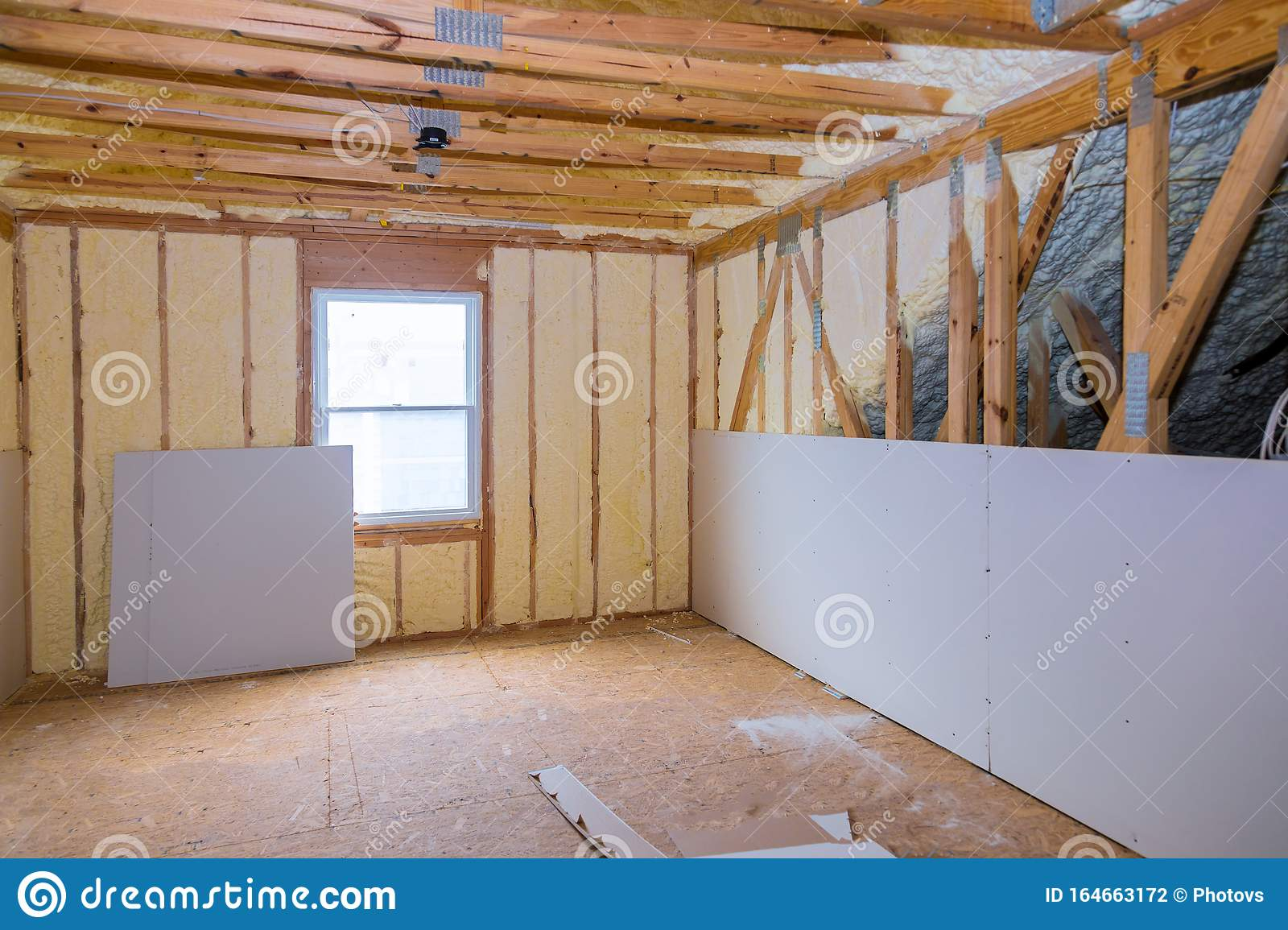Insulation Of Thermal Insulation Attic With Cold Barrier And Insulation Material Stock Photo Image Of Thermal Inside 164663172