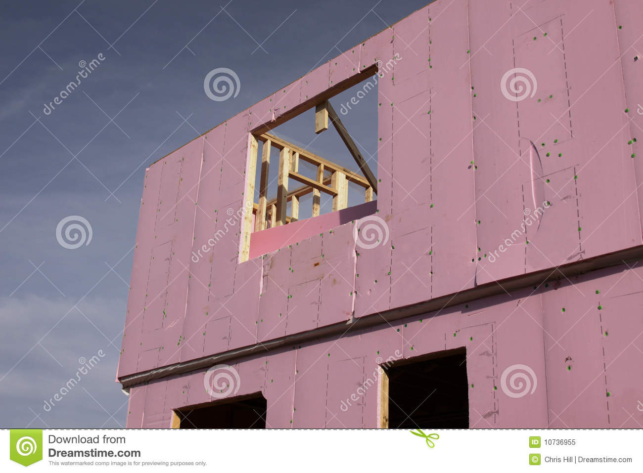 Insulation on a new home stock image image of development for New home insulation