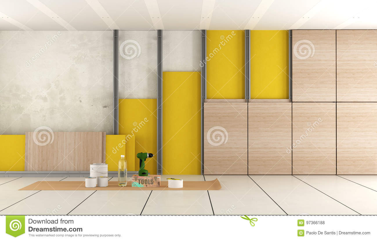 Insulation of an old room stock illustration. Illustration of wall ...